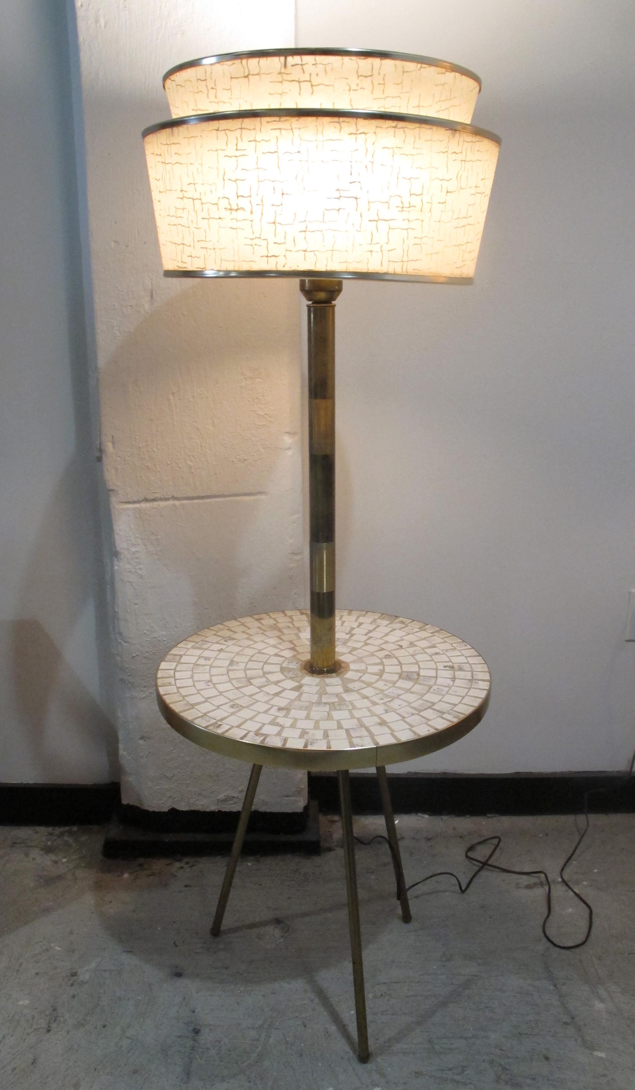 MID CENTURY ITALIAN BRASS & TILED TABLE FLOOR LAMP
