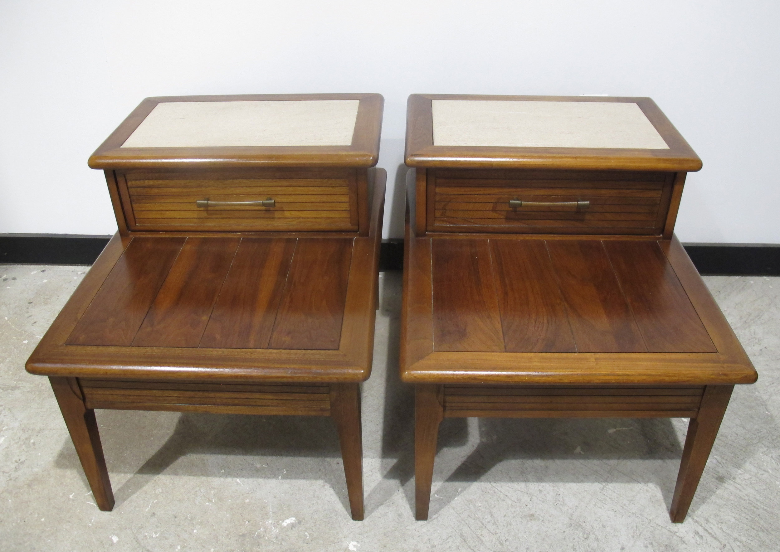 PAIR OF MID CENTURY TRAVERTINE TOP & WALNUT STEP END TABLES