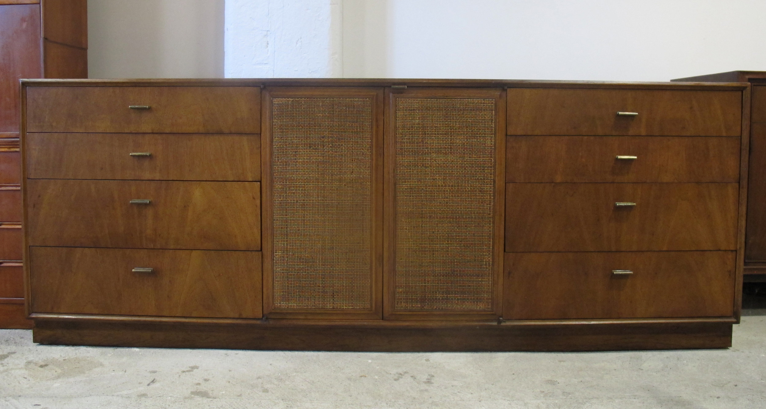 MID CENTURY WALNUT & CANE LONG DRESSER BY FOUNDERS