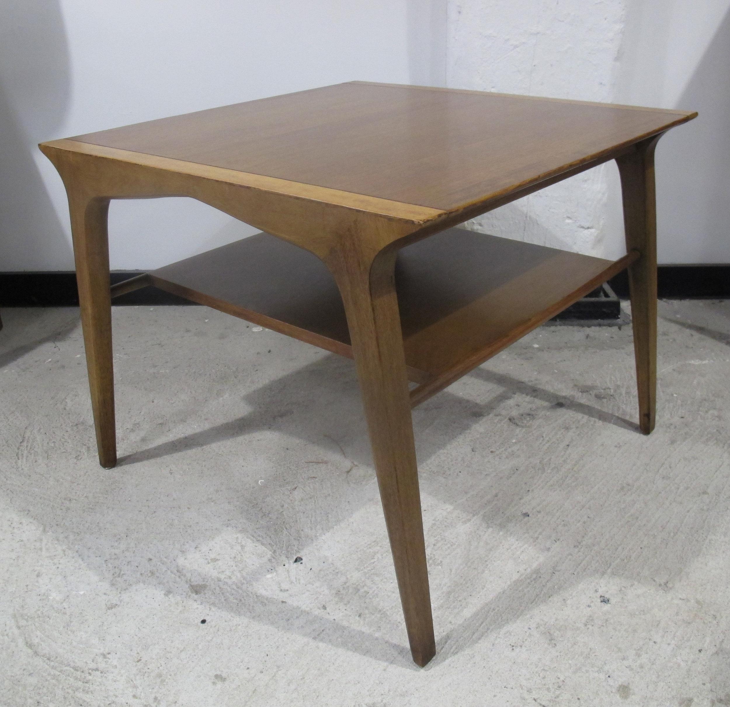 DREXEL PROFILE MID CENTRY WALNUT SIDE TABLE BY JOHN VAN KOERT