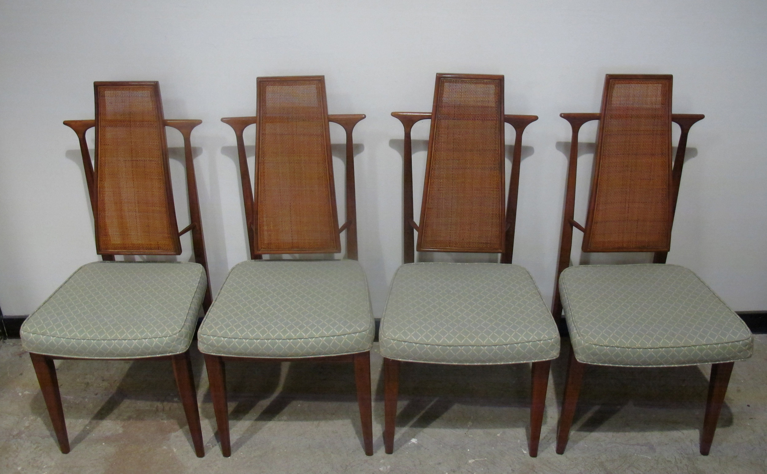 SET OF KAGAN STYLE HIGH BACK WALNUT & CANE DINING CHAIRS