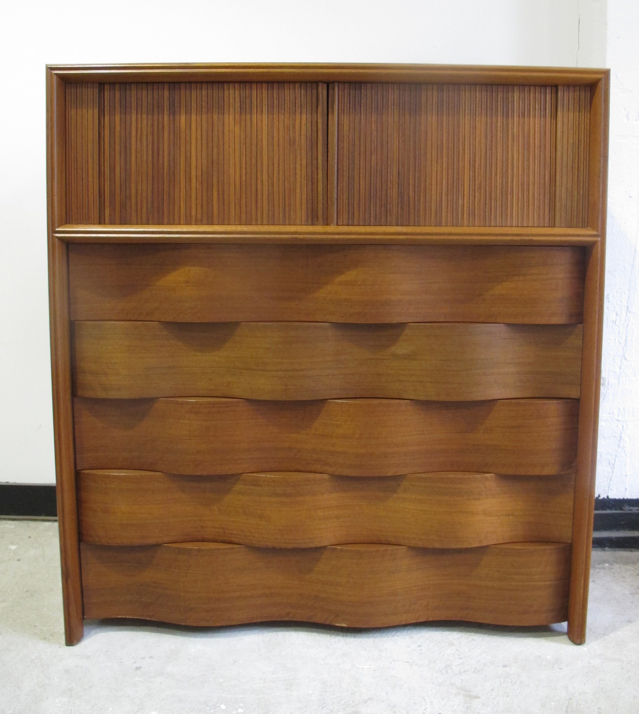 MID CENTURY WALNUT WAVE DRESSER BY EDMUND SPENCE