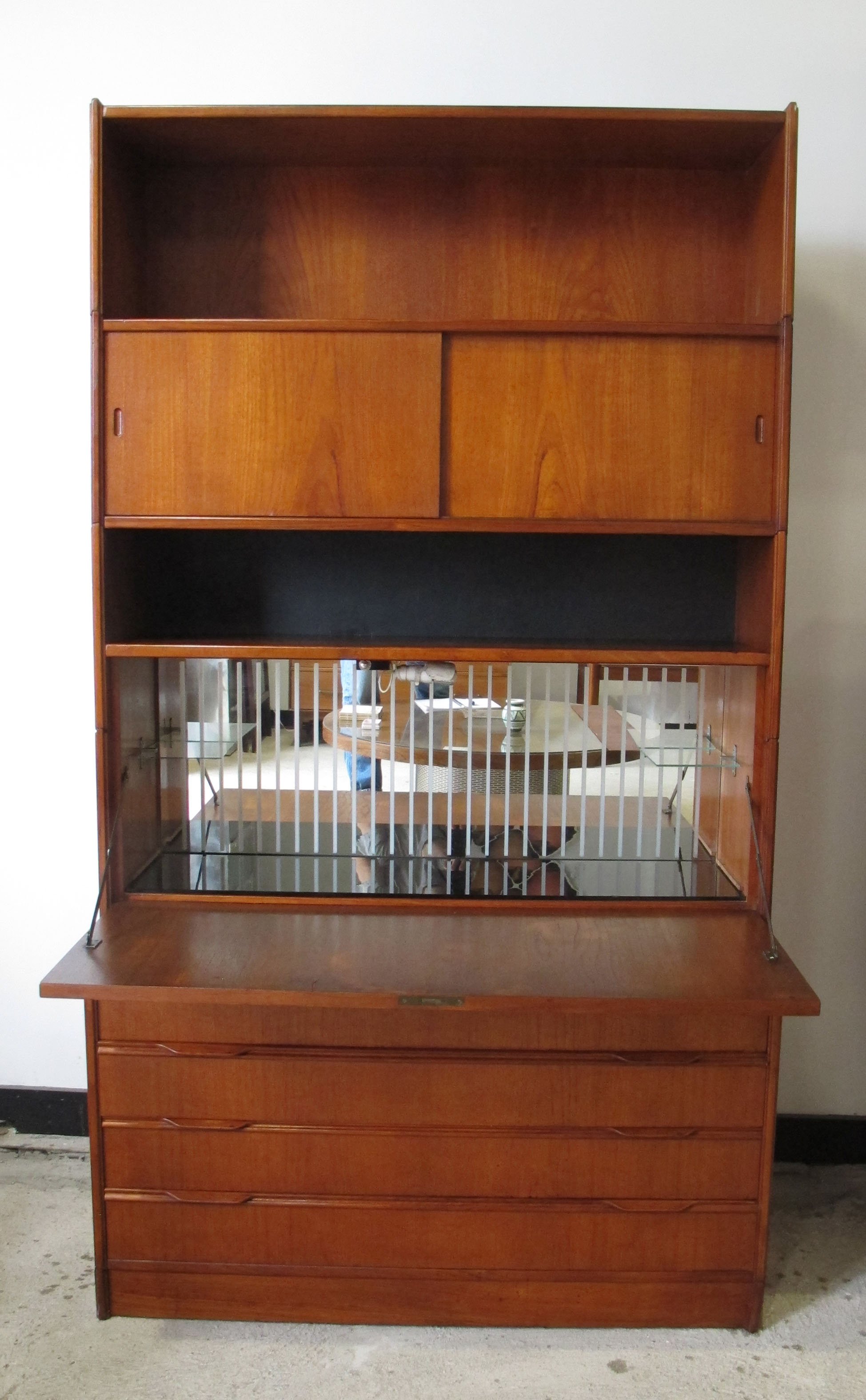 DANISH MODERN TEAK BAR CABINET AND CHEST