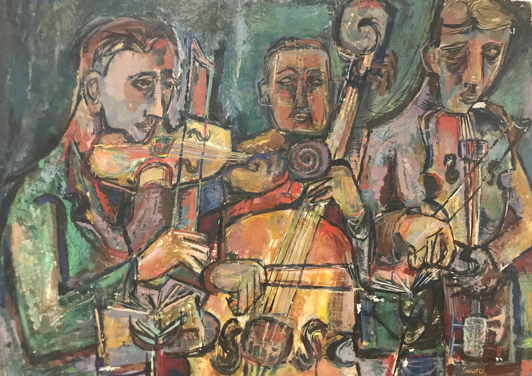 MID CENTURY ABSTRACT PAINTING OF MUSICIANS BY SAVUTO