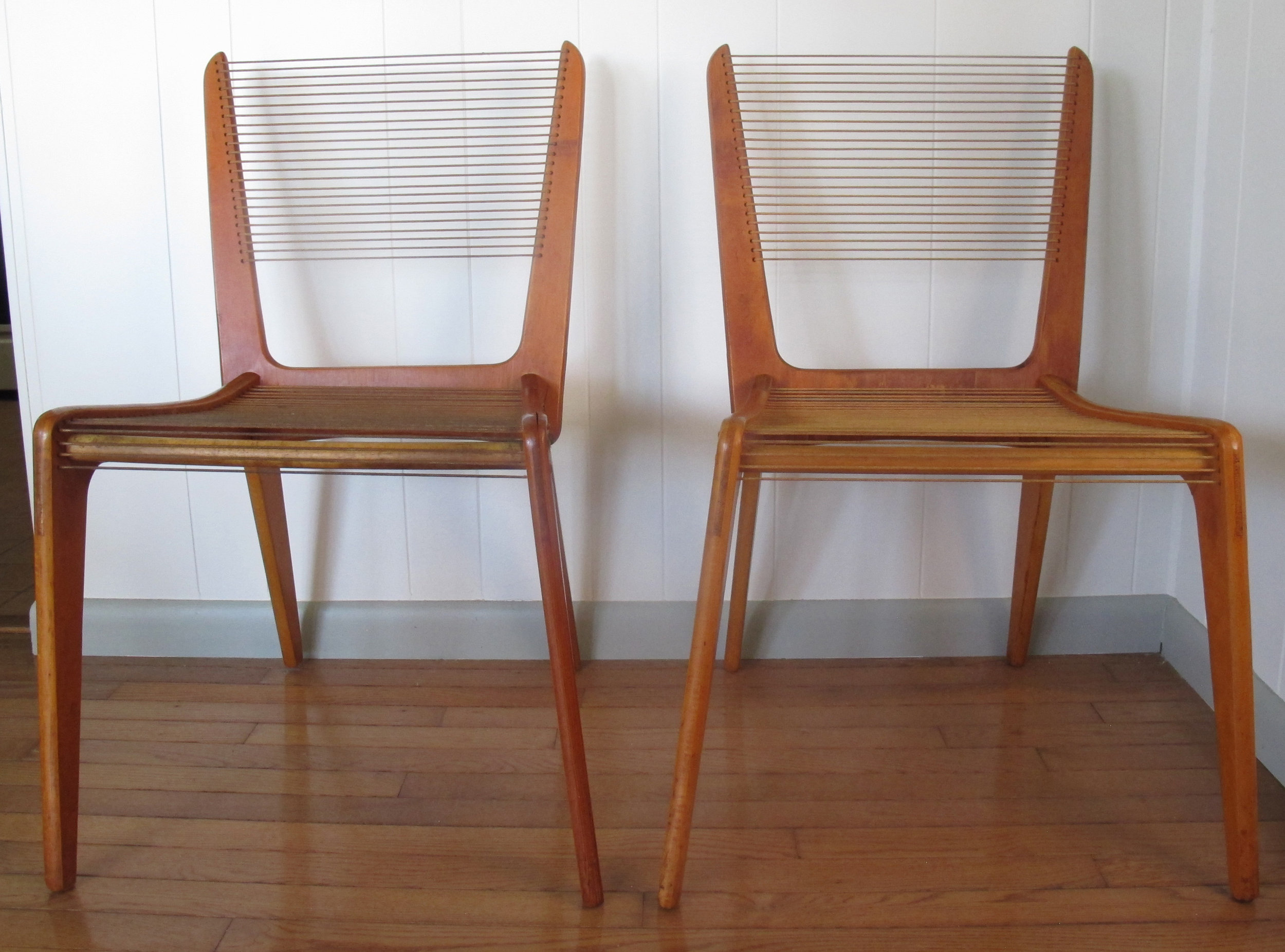 PAIR OF MID CENTURY CORD CHAIRS BY JACQUES GUILLON