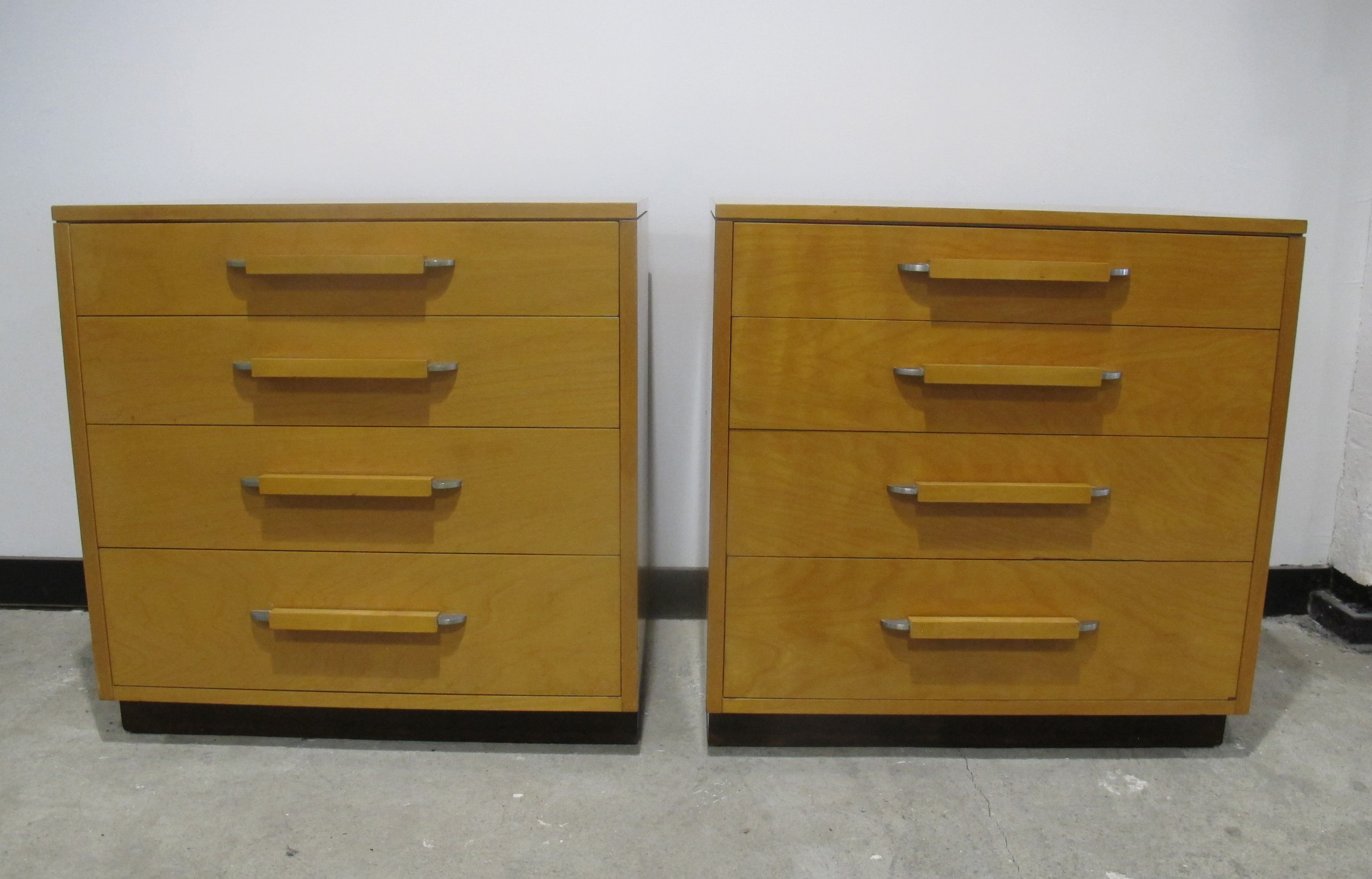 PAIR OF DECO ELIEL SAARINEN, PIPSAN SAARINEN-SWANSON, AND ROBERT SWANSON CHEST OF DRAWERS BY JOHNSON FURNITURE