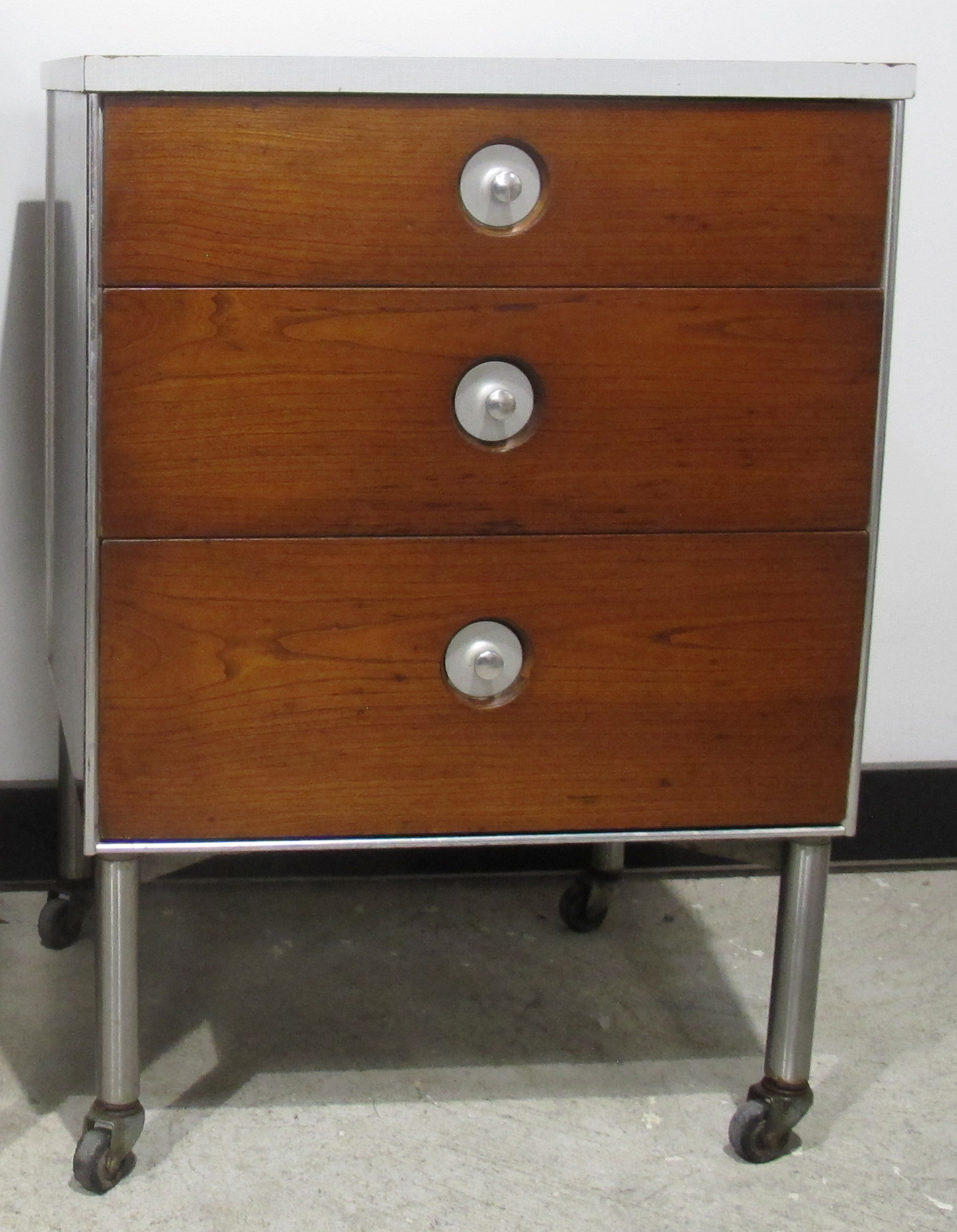 RAYMOND LOEWY THREE DRAWER ROLLING CABINET BY HILL-ROM