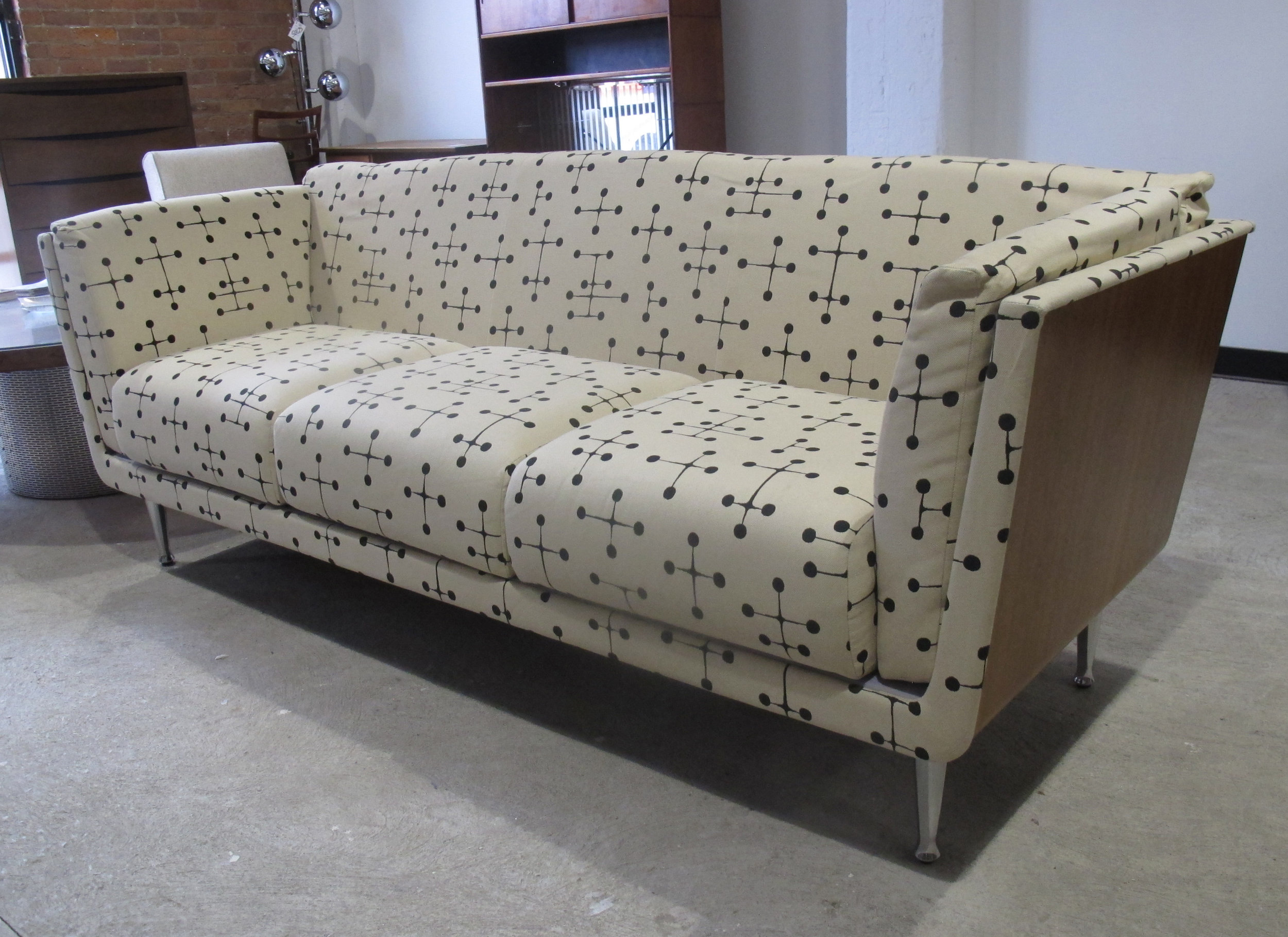 HERMAN MILLER GOETZ WALNUT SOFA WITH EAMES FABRIC