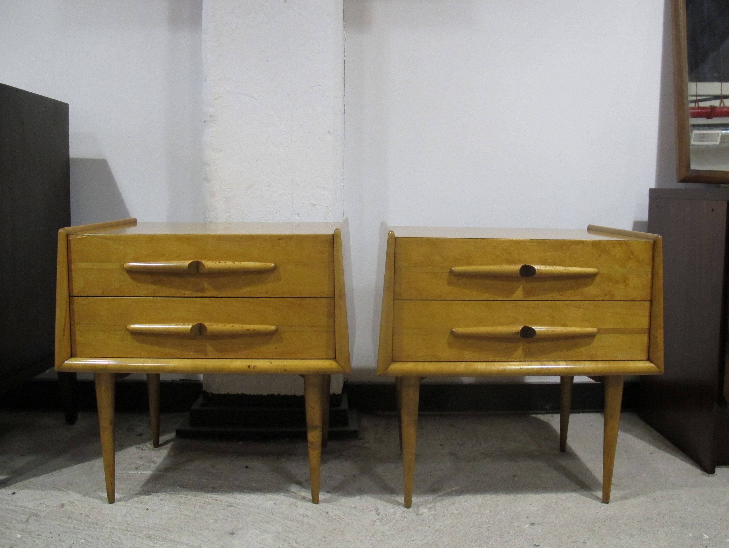 PAIR MID CENTURY MAPLE NIGHTSTANDS BY EDMOND SPENCE