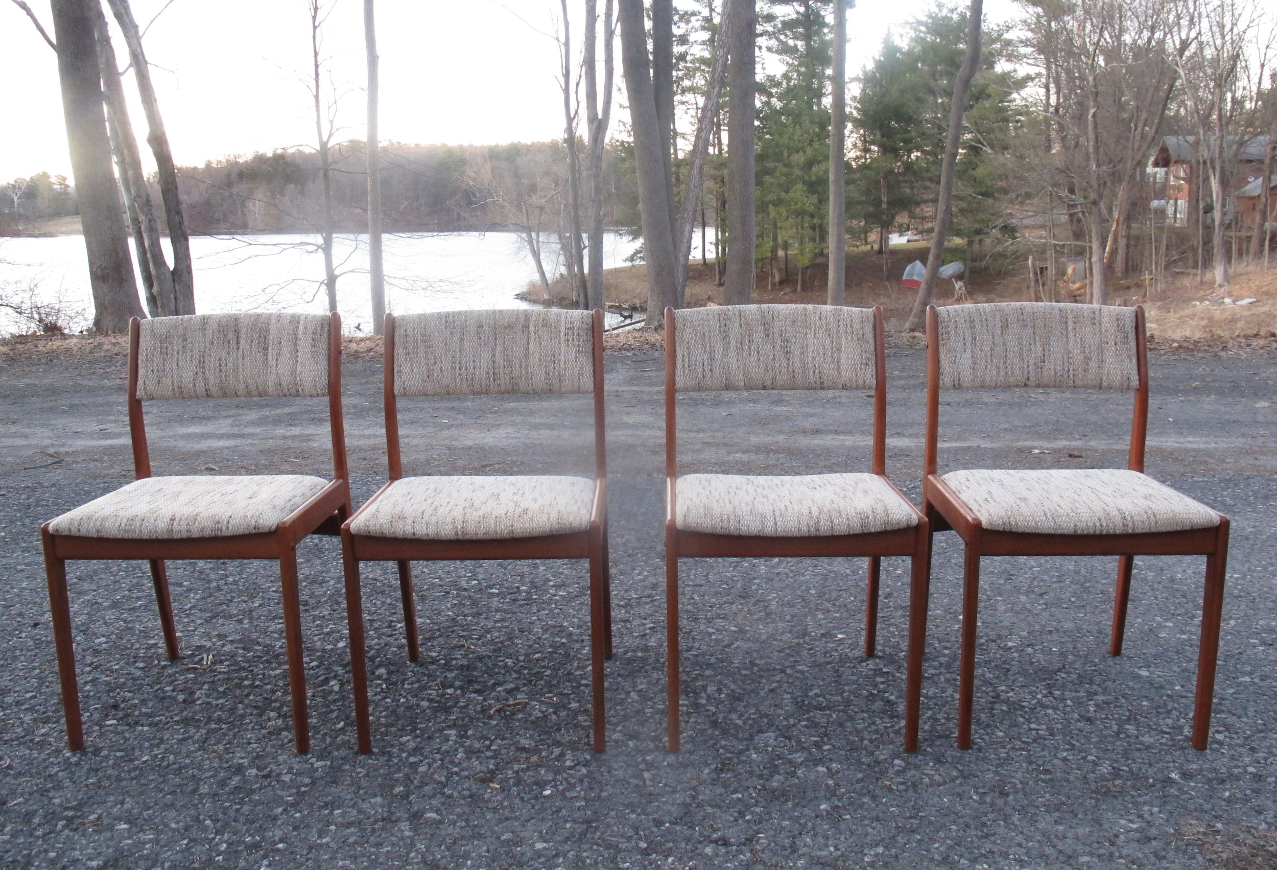 SET OF DANISH TEAK UPHOLSTERED DINING CHAIRS