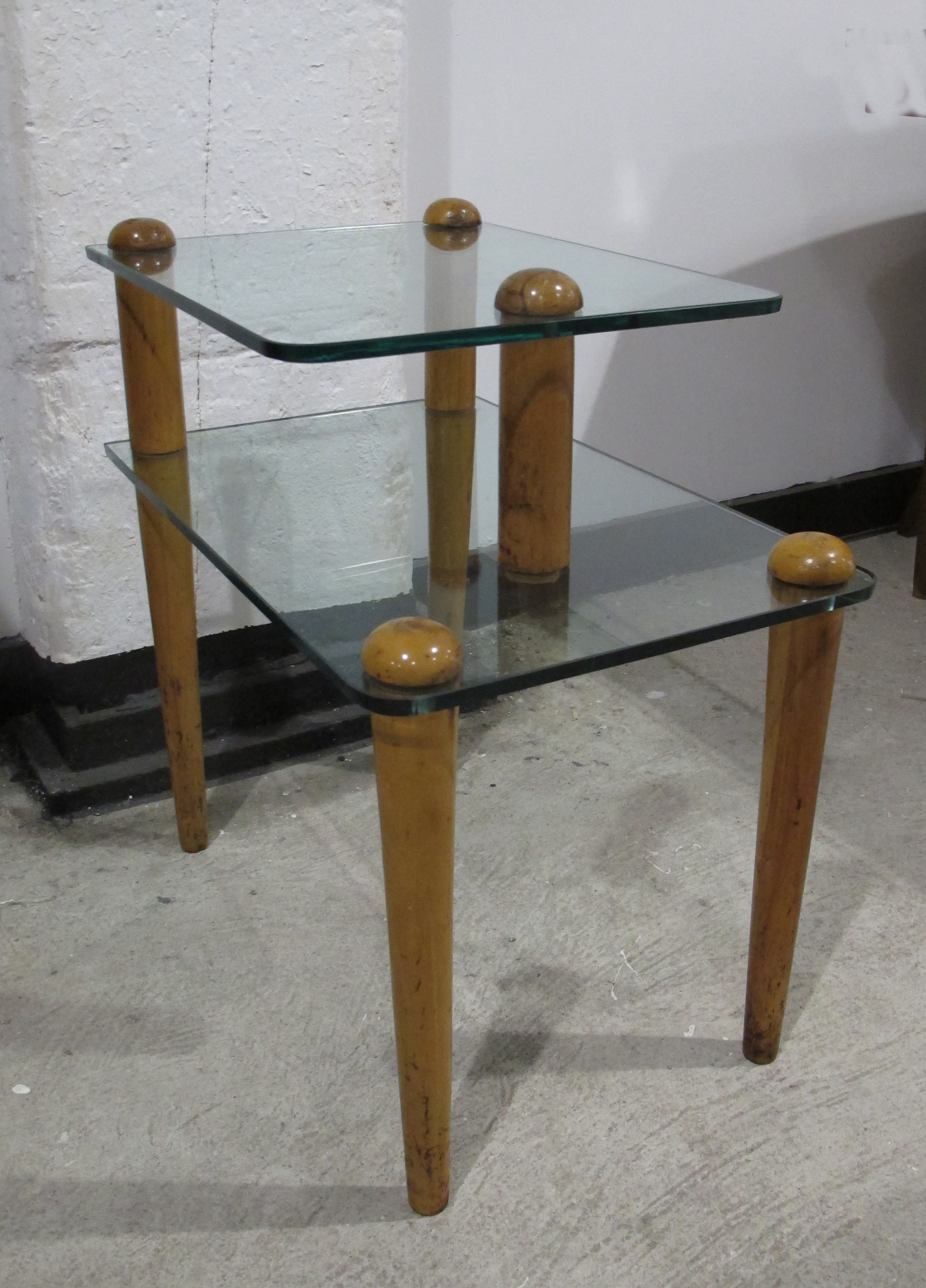 GILBERT ROHDE WOOD AND GLASS TWO-TIER SIDE TABLE