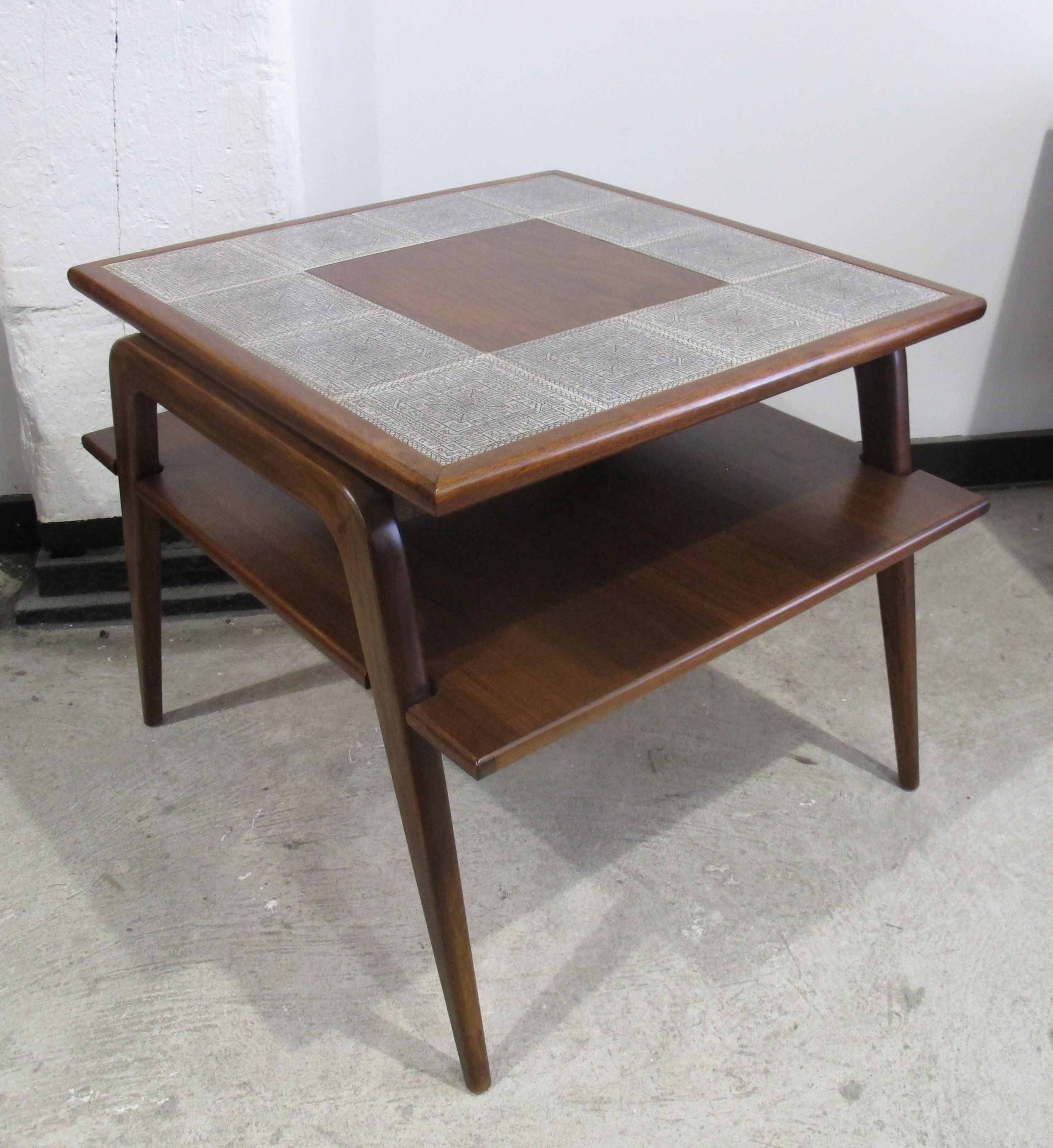 MID CENTURY TILED WALNUT TWO-TIER SIDE TABLE
