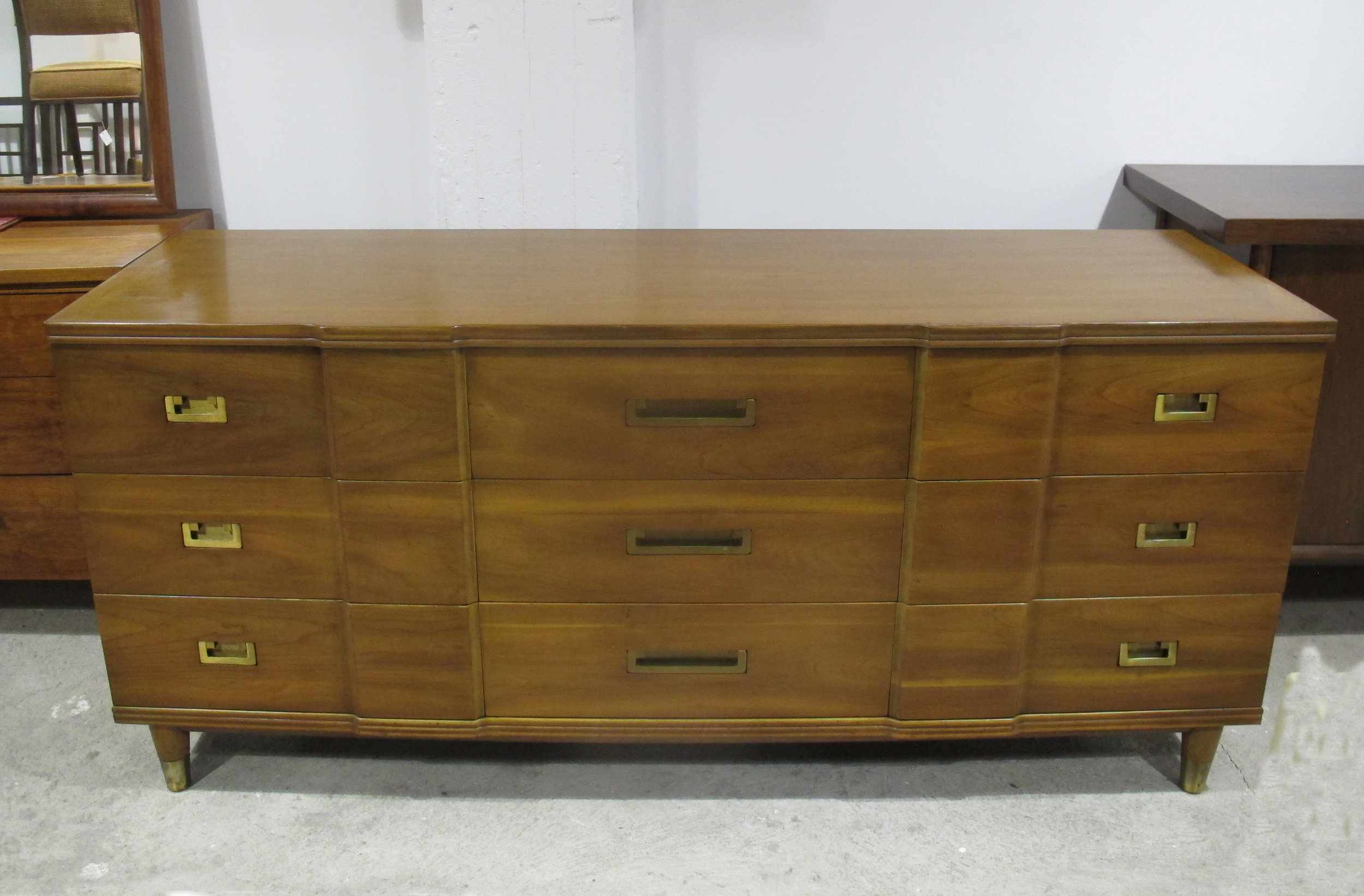 MID CENTURY WALNUT LONG DRESSER BY JOHN WIDDICOMB