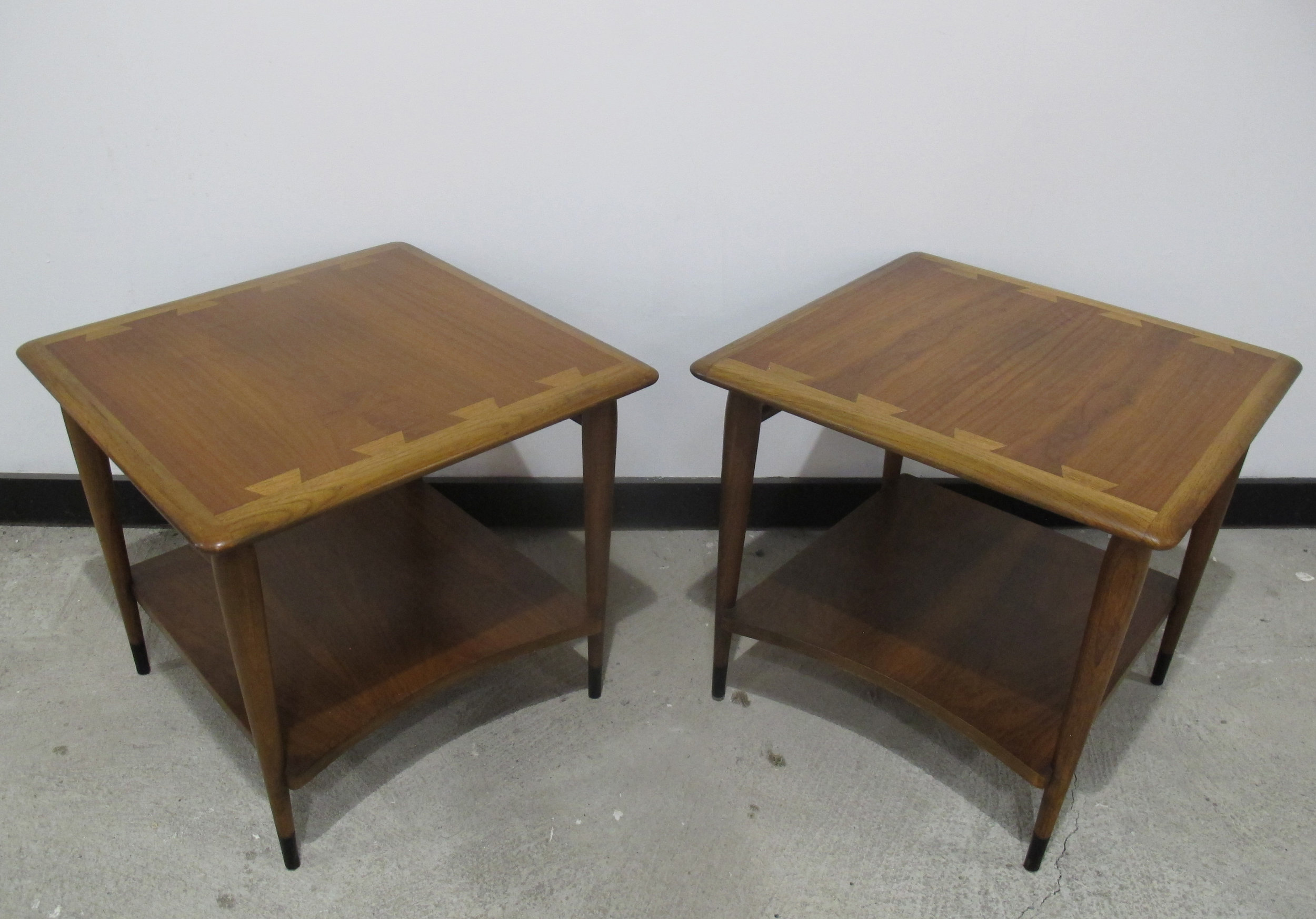 MID CENTURY TWO-TIER WALNUT END TABLES BY LANE