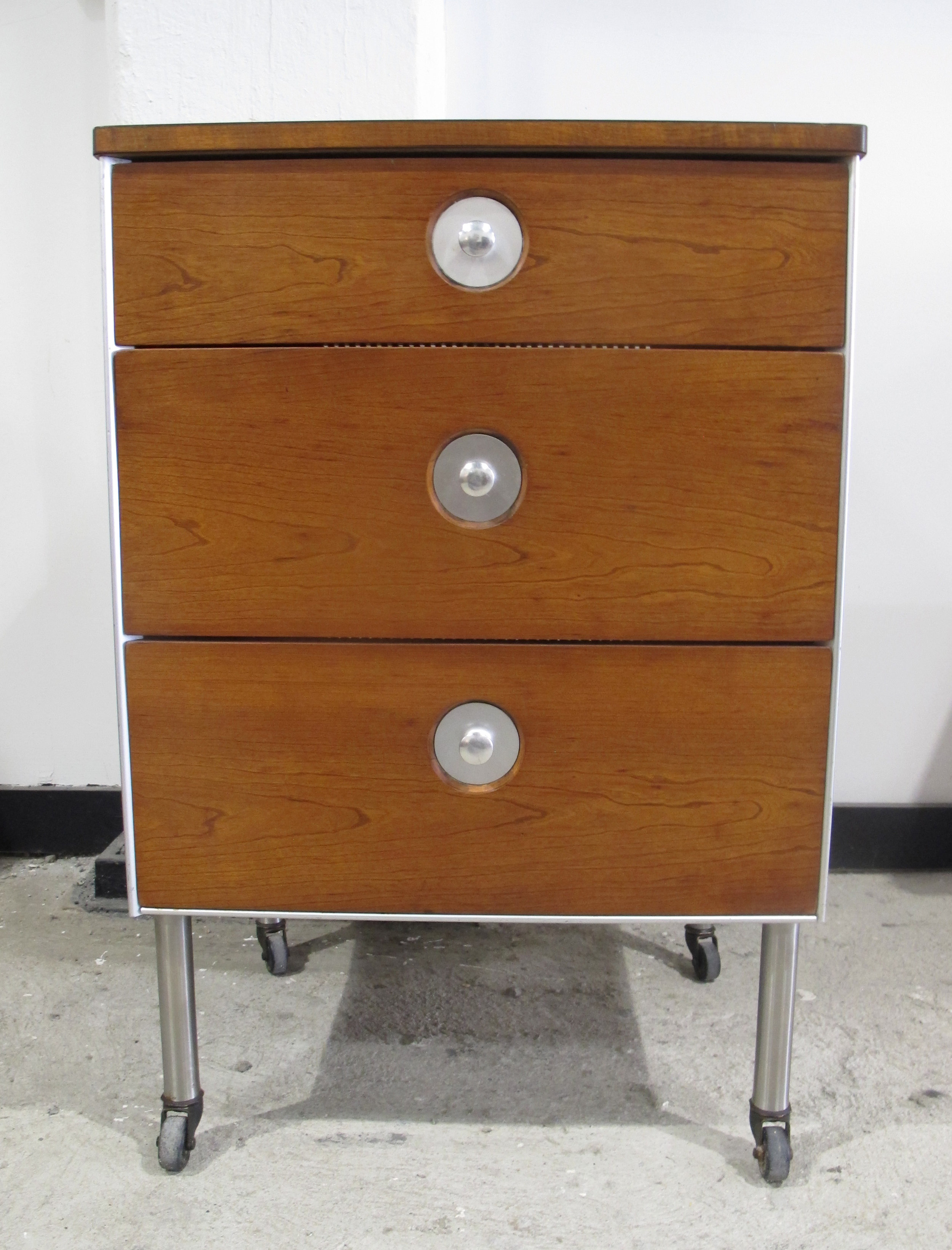 MID CENTURY HILL-ROM ROLLING CABINET BY RAYMOND LOEWY