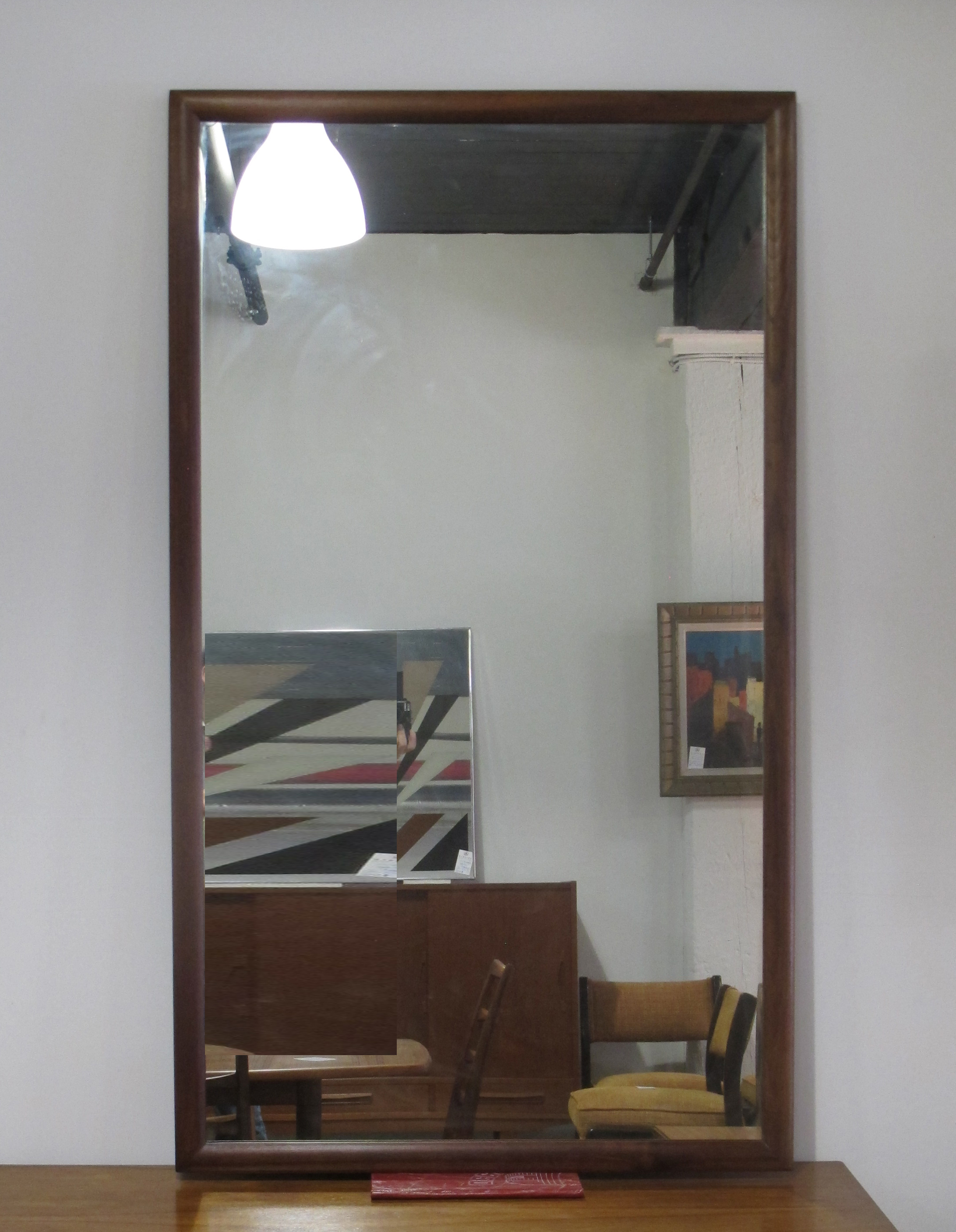 LARGE DREXEL PARALLEL MID CENTURY WALNUT MIRROR