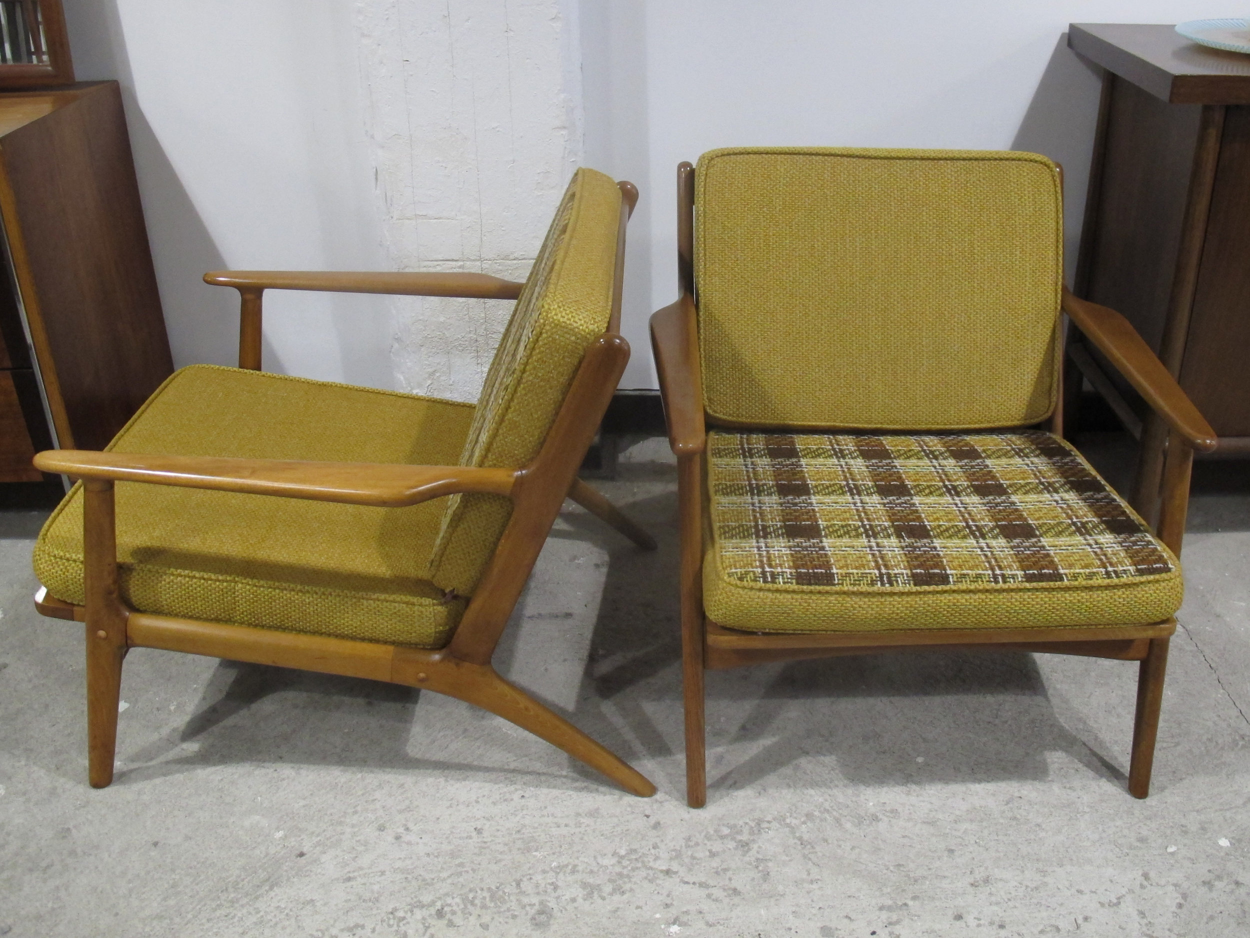 PAIR ADRIAN PEARSALL STYLE DANISH MODERN SPINDLE BACK LOUNGE CHAIRS