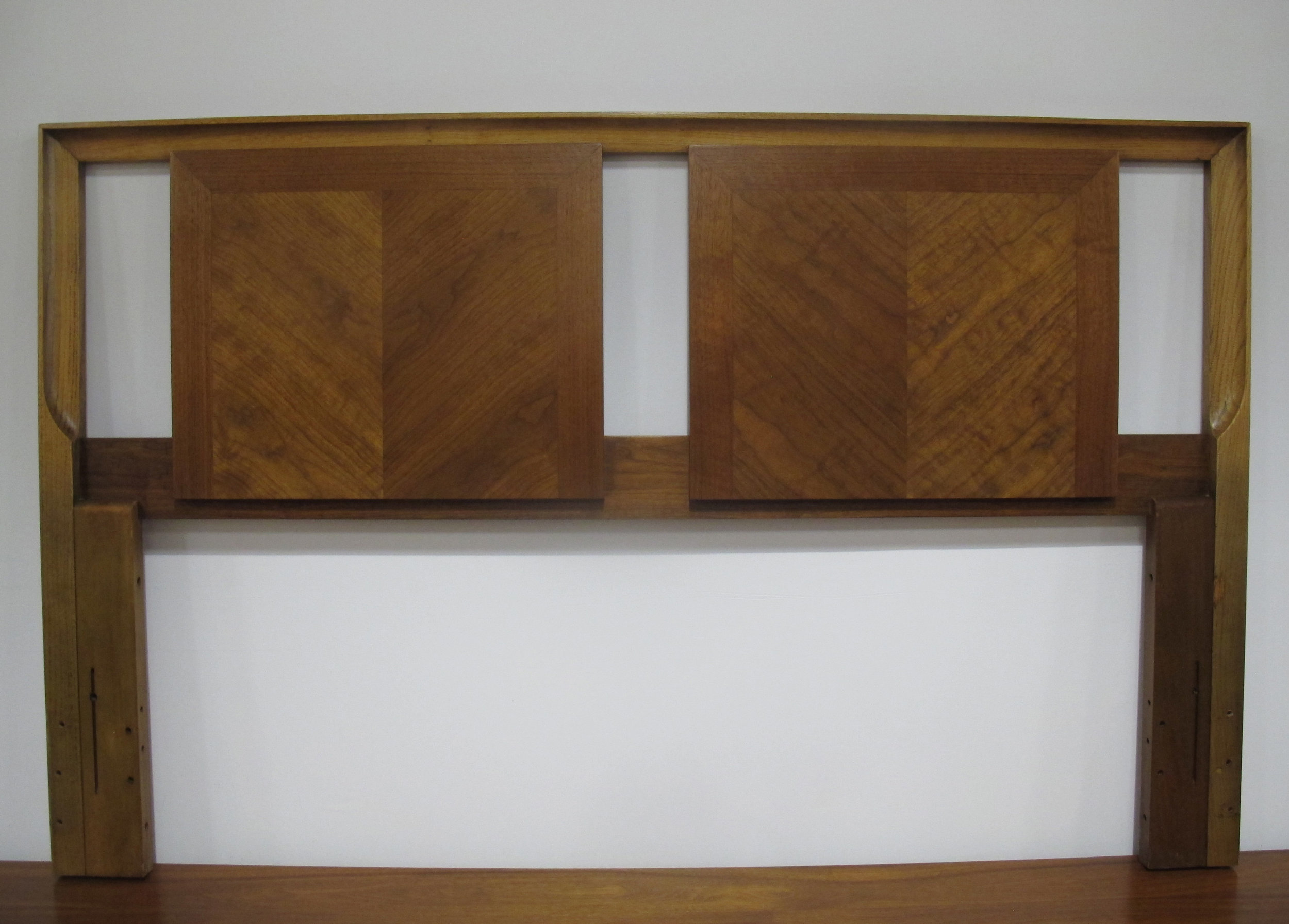 MID CENTURY OAK & WALNUT HEADBOARD BY MARVIN CHARLES