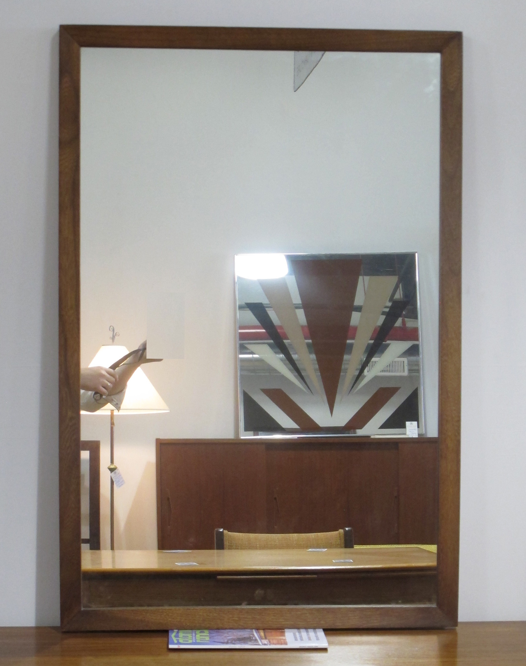 MID CENTURY WALNUT RECTANGULAR MIRROR BY DIXIE