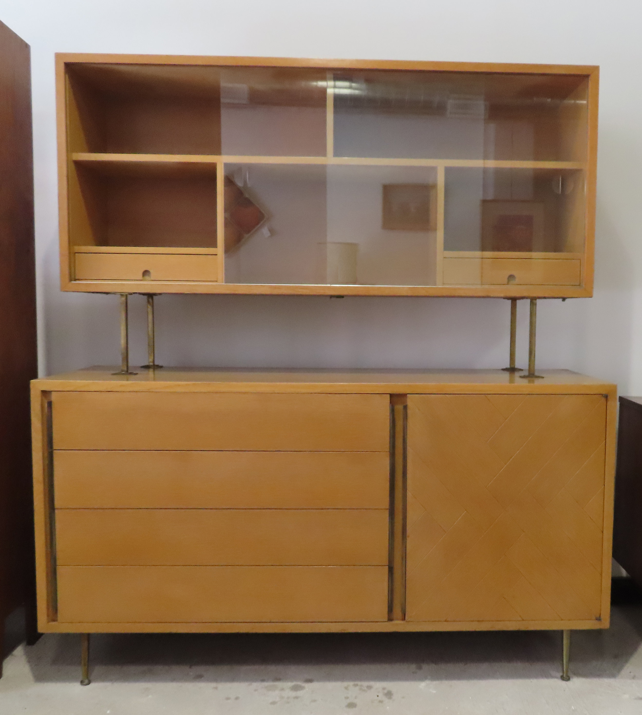 MID CENTURY OAK CREDENZA CHINA CABINET BY RED LION