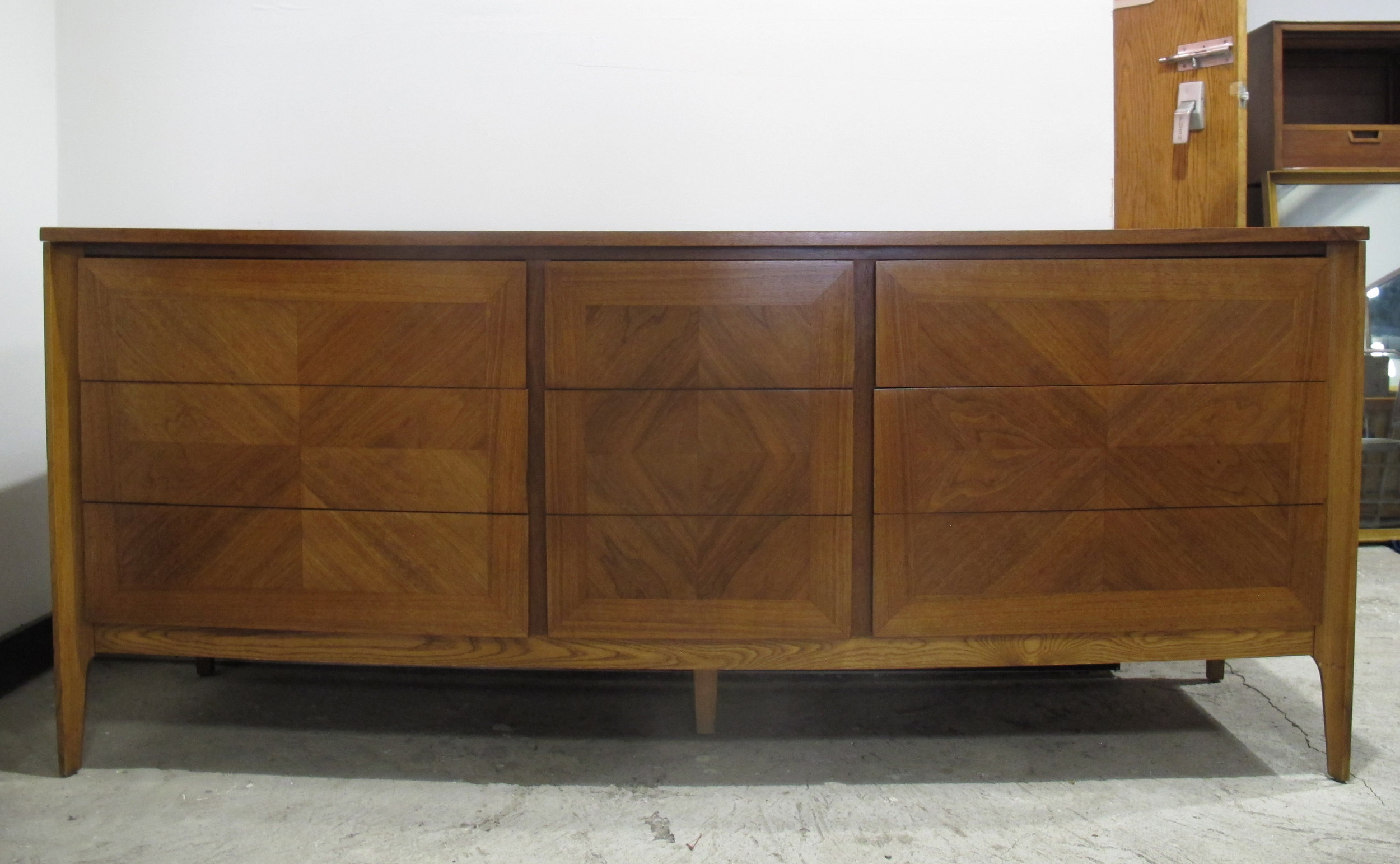 MID CENTURY OAK & WALNUT BOOK MATCHED LONG DRESSER BY MARVIN CHARLES