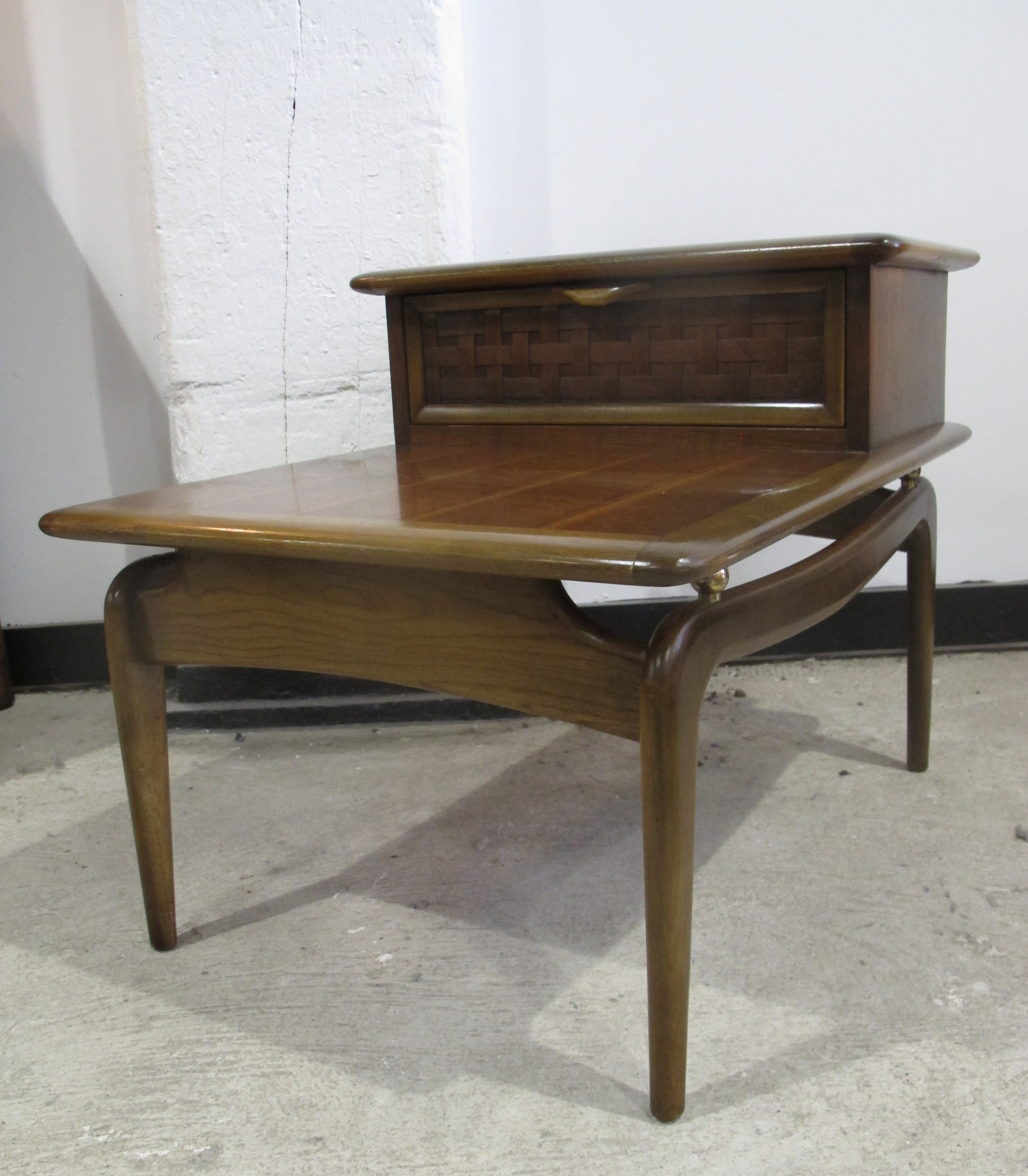 MID CENTURY PERCEPTION OAK & WALNUT STEP END TABLE BY LANE