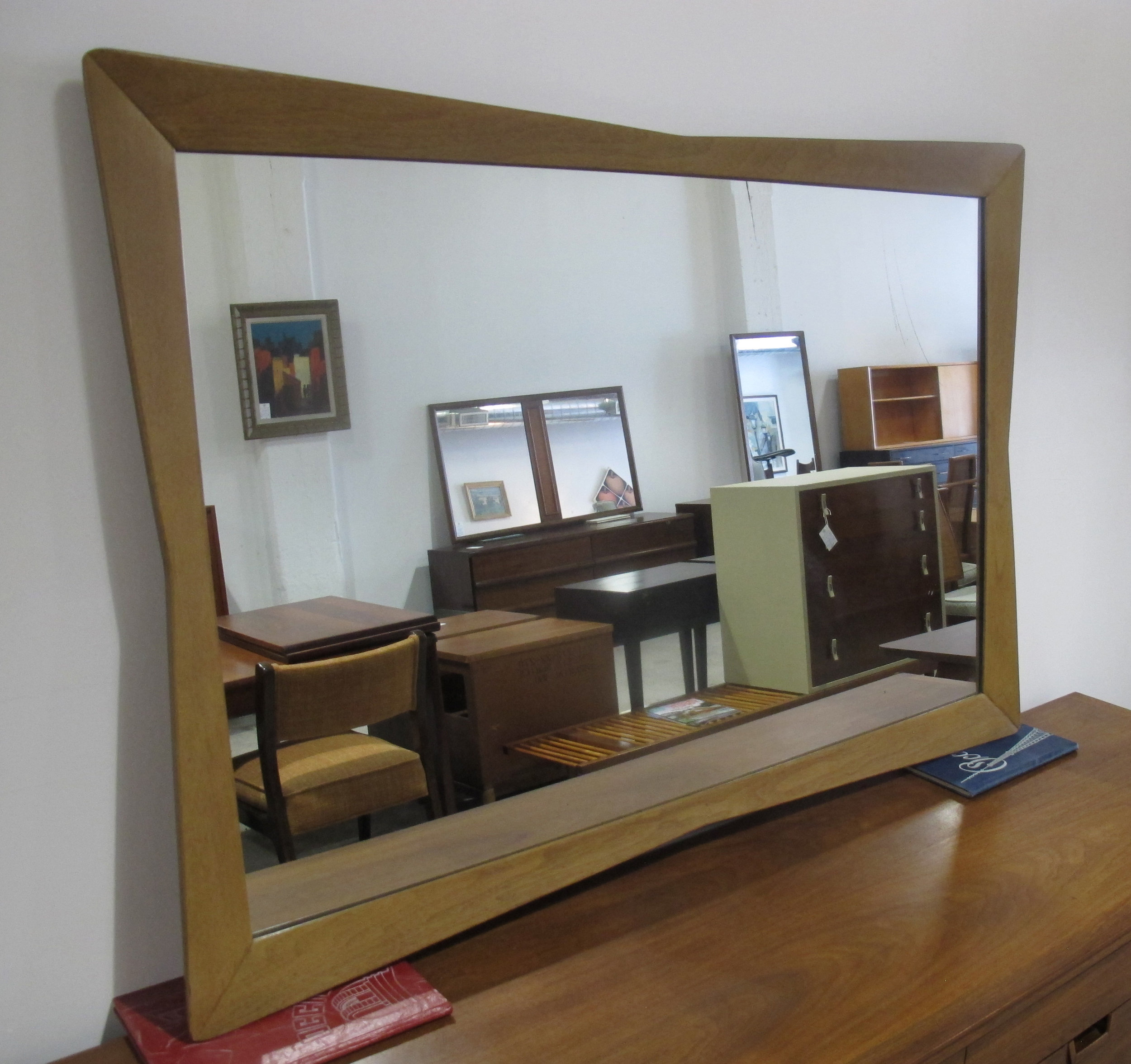 MID CENTURY KENT COFFEY SEQUENCE WALNUT & MAHOGANY SCULPTED MIRROR