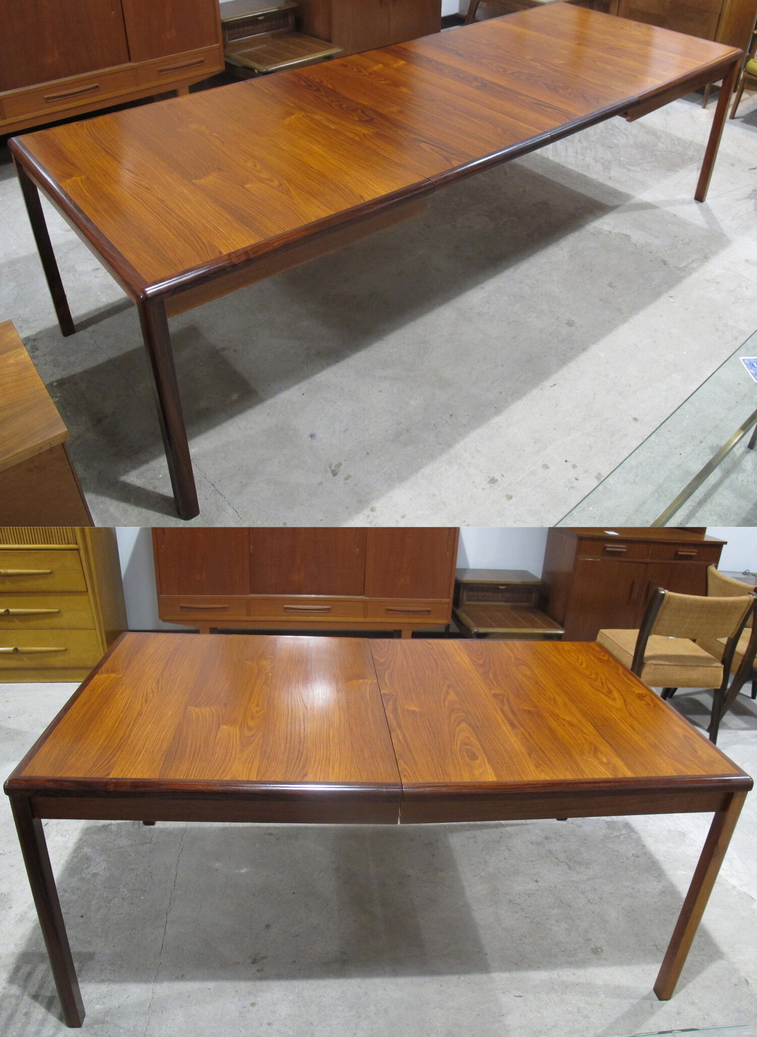 DANISH MODERN ROSEWOOD DINING TABLE WITH LEAVES
