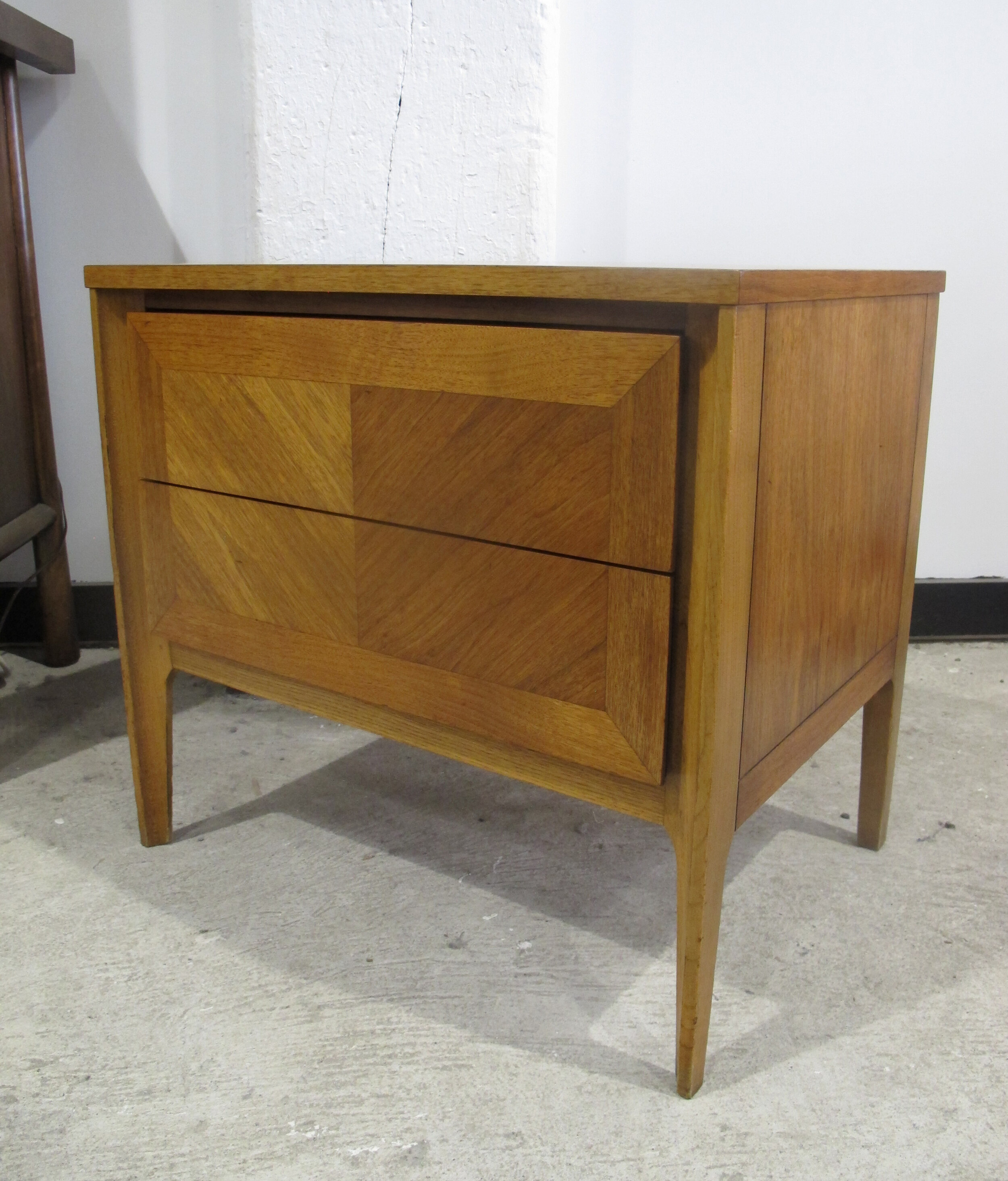 MID CENTURY OAK & WALNUT NIGHTSTAND BY MARVIN CHARLES