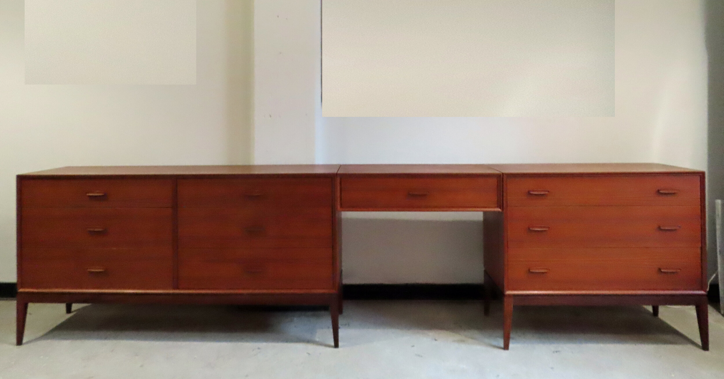 DANISH MODERN TEAK DRESSER, CHEST, AND VANITY