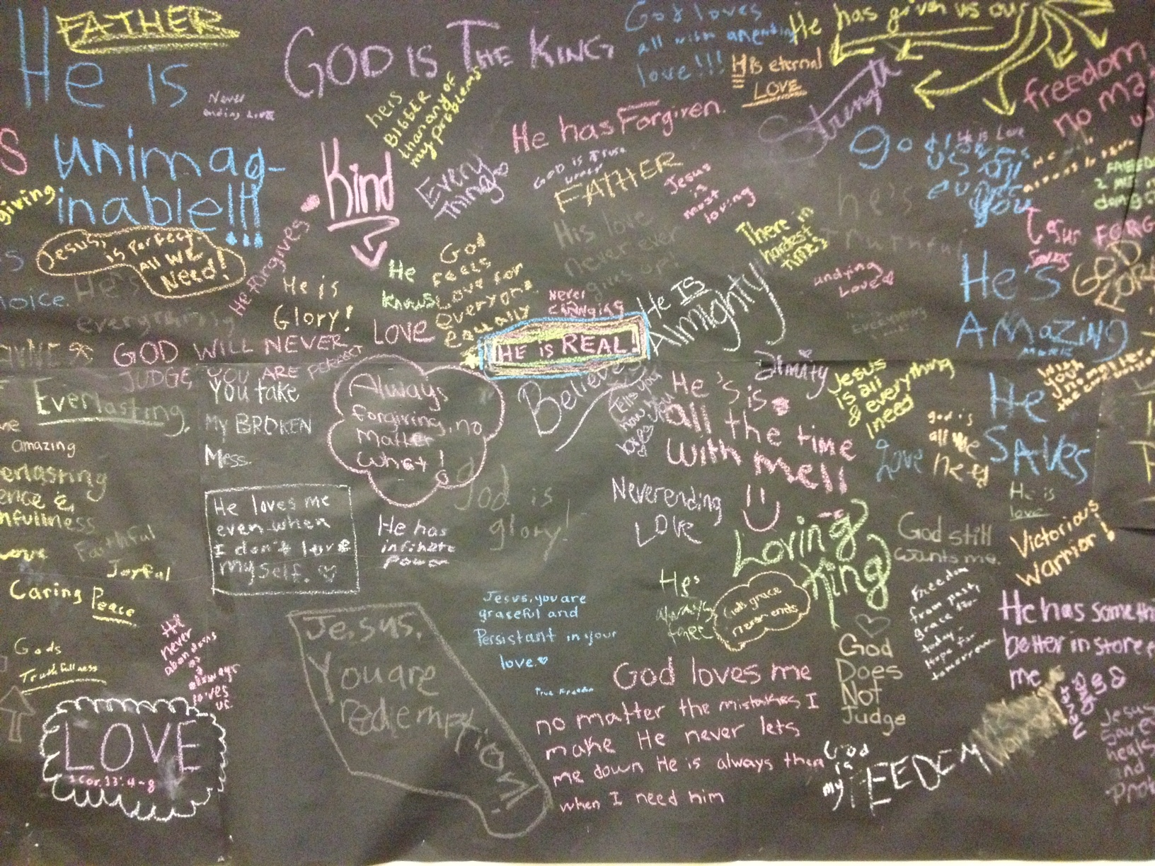 """Truths middle school and high school students wrote on a wall at Old Oak Ranch. I am inspired by them. """"Jesus, you are graceful and persistent in your love."""""""