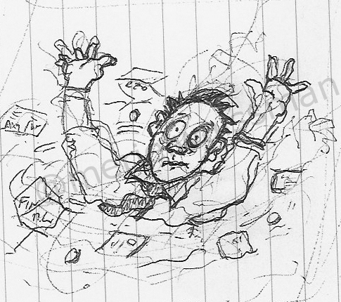 Initial Visual of a Man Drowning in Debt Scribbled on a Scrap of Paper