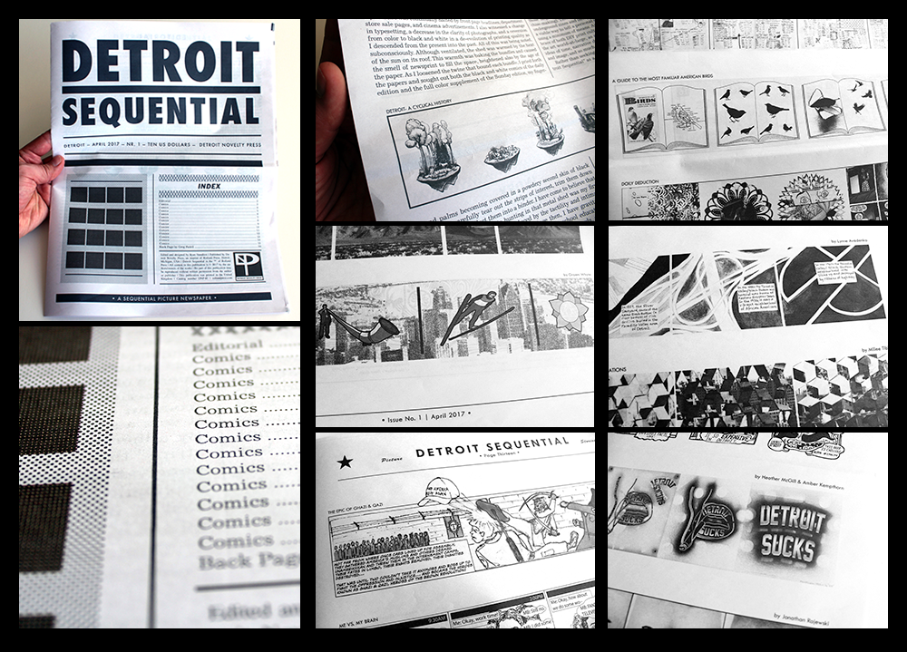 """}  AN ANTHOLOGY  of comic strips by over 60 Detroit-based writers and artists, responding to the idea of the """"daily strip""""—a black and white horizontal sequence of four to six panels that was the format used in the comic strip pages of many American newspapers during weekday editions.   } WITH:  Lynne Avadenka 