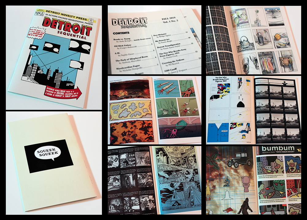 """}  AN ANTHOLOGY  of comics by 33 past and present Detroit writers and artists, responding to the idea of the """"comics page""""—a simple nine-panel layout sized to the format of the American mass-market comic book.   } WITH:  Susan Aaron-Taylor 