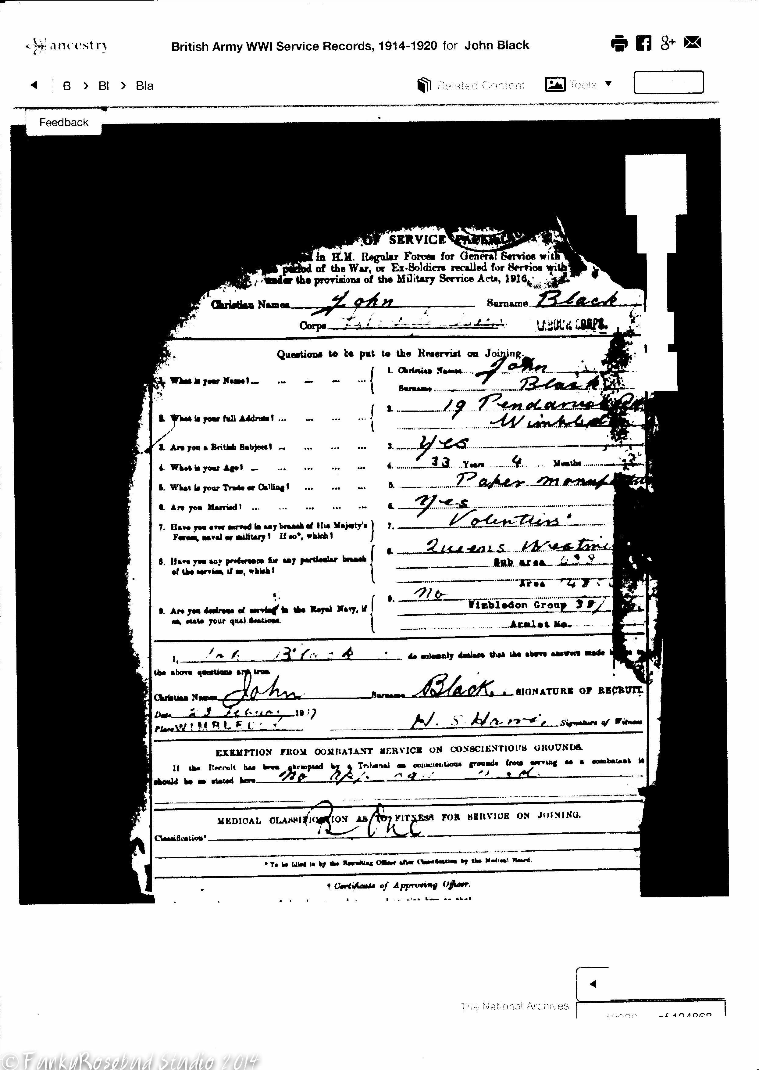 Part of John Black's military record