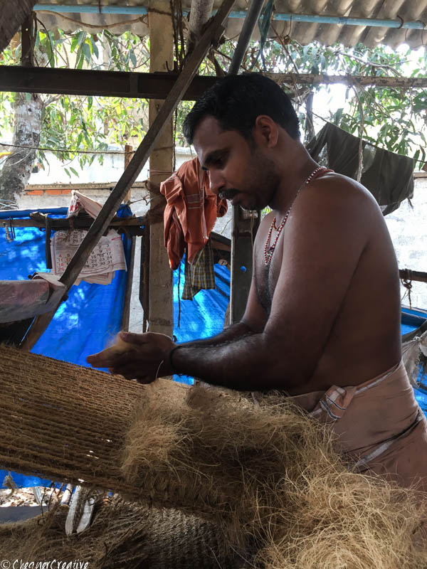 Making Coir mats in Kerala