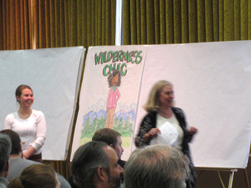 """Facilitator Barbara Lewis kicked off the morning by helping everyone decide if they're more of a """"Wilderness Chic"""" or a """"City Dude""""."""
