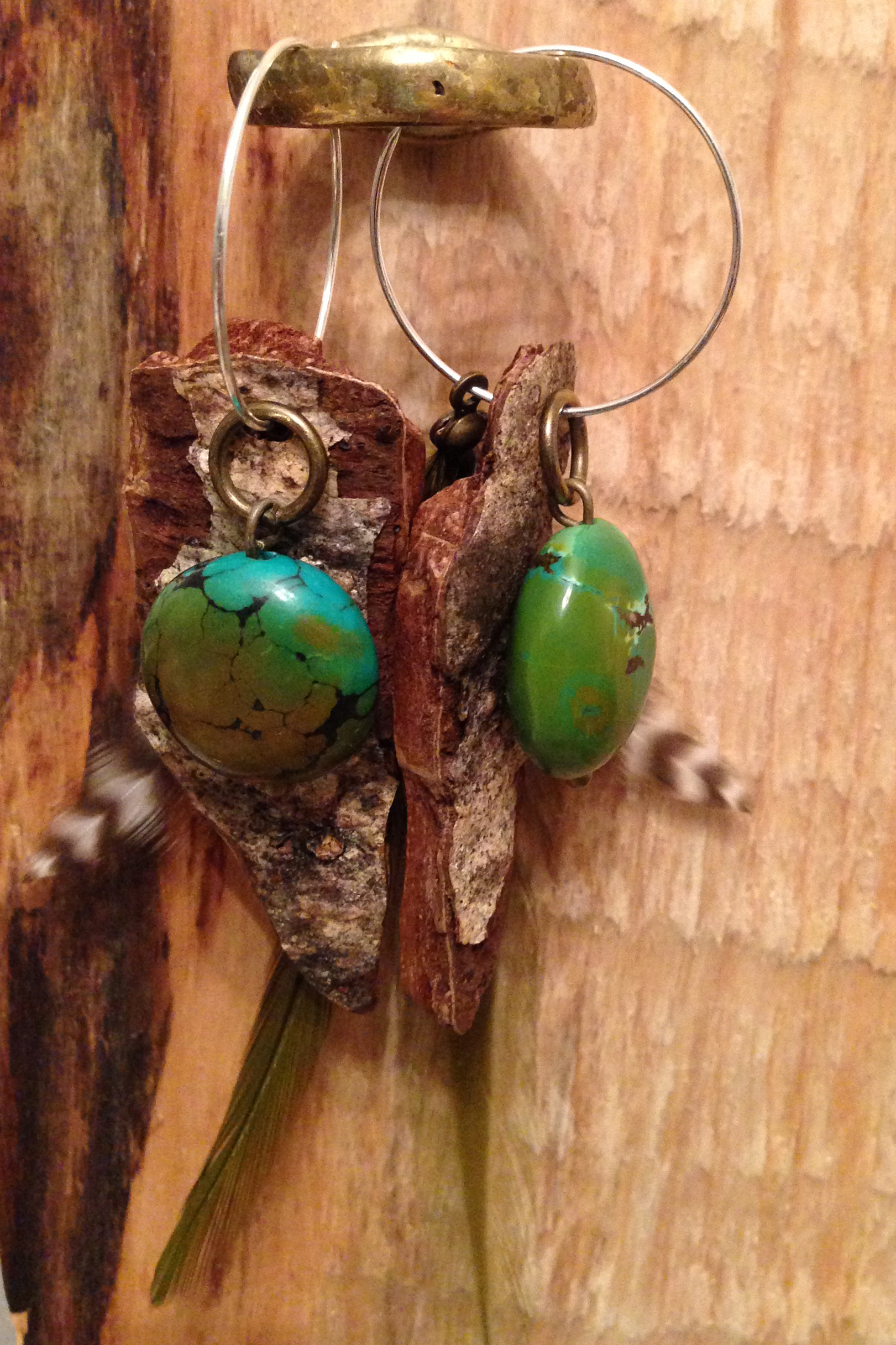 Turquoise, Bark and Feather Earrings