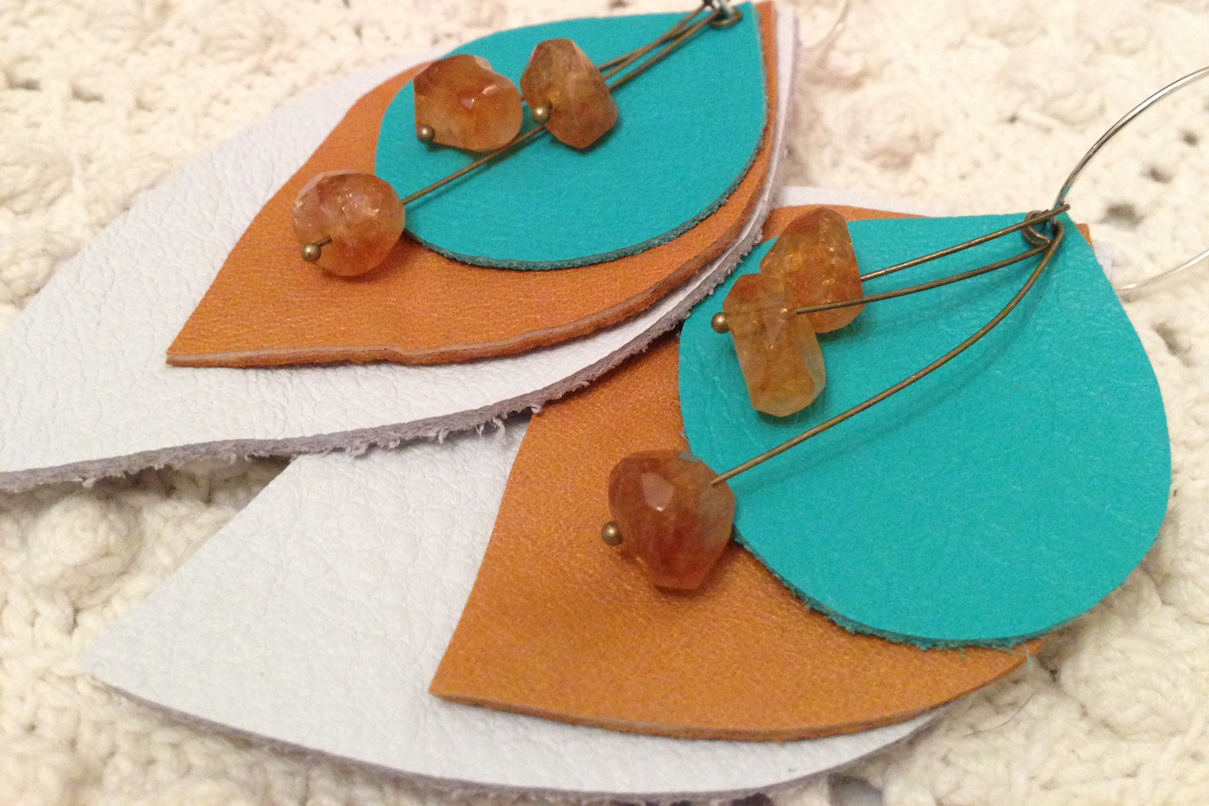 leather and citrine earrings