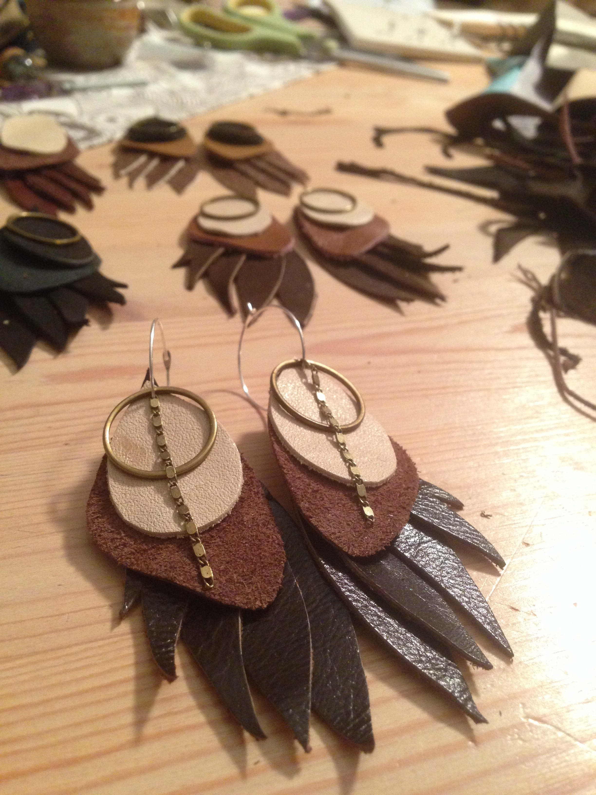 Leather Bird Wing Earrings