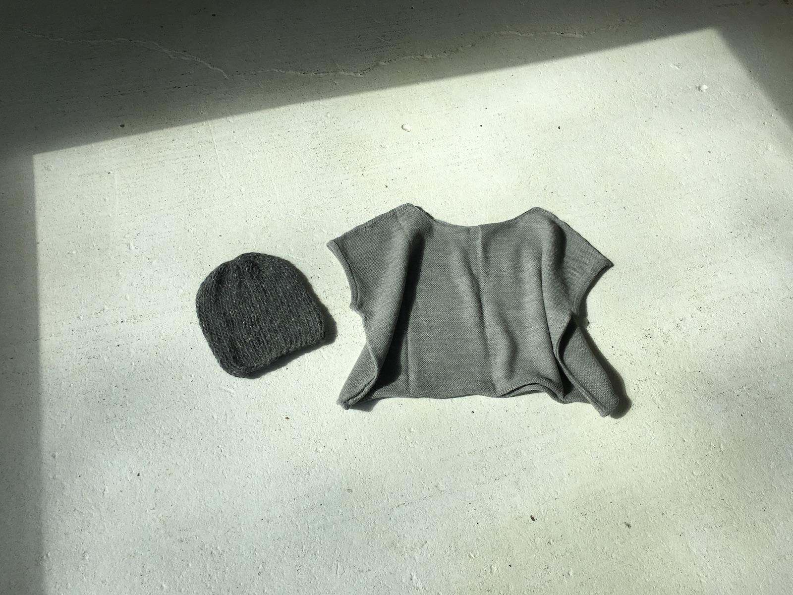 handspun hat ,  knit top
