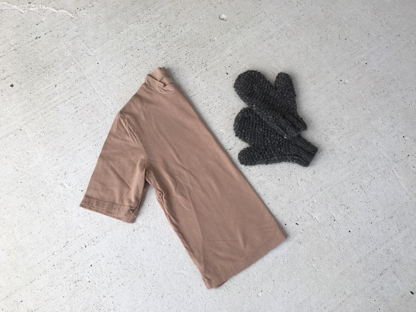 jersey top,   handspun mittens