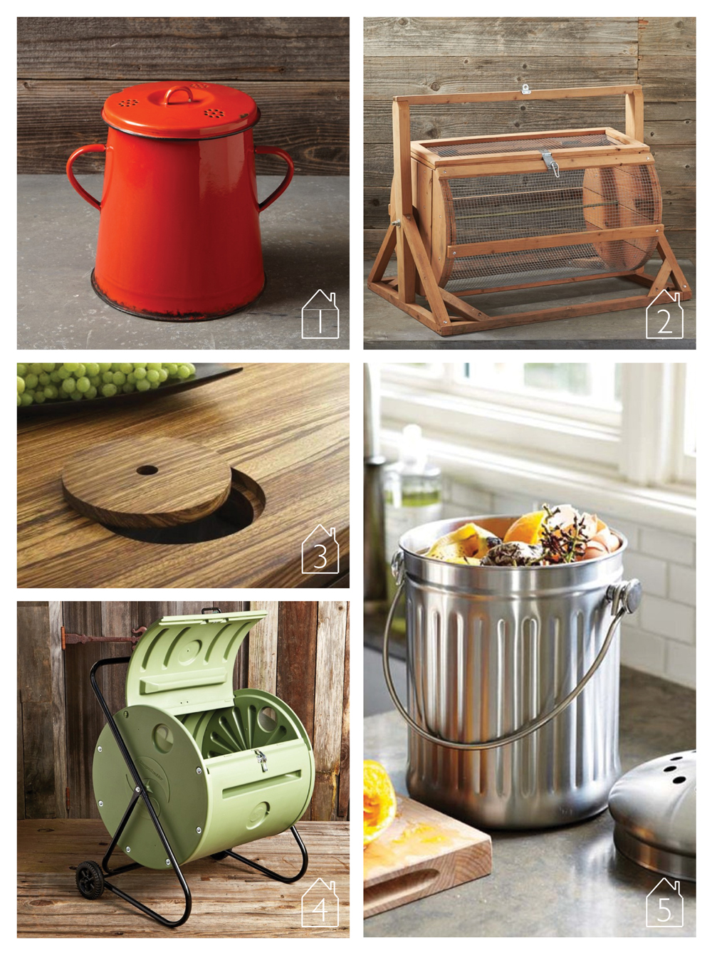 1. Vintage Enamel Compost Bin by  Williams-Sonoma  2. Redwood Cylindrical Composter by  Williams-Sonoma  3. An integrated countertop compost solution via  Remodelista  4. Back Porch Compost Tumblr by  Williams-Sonoma  5. Brushed Stainless-Steel Compost Pail by  Williams-Sonoma