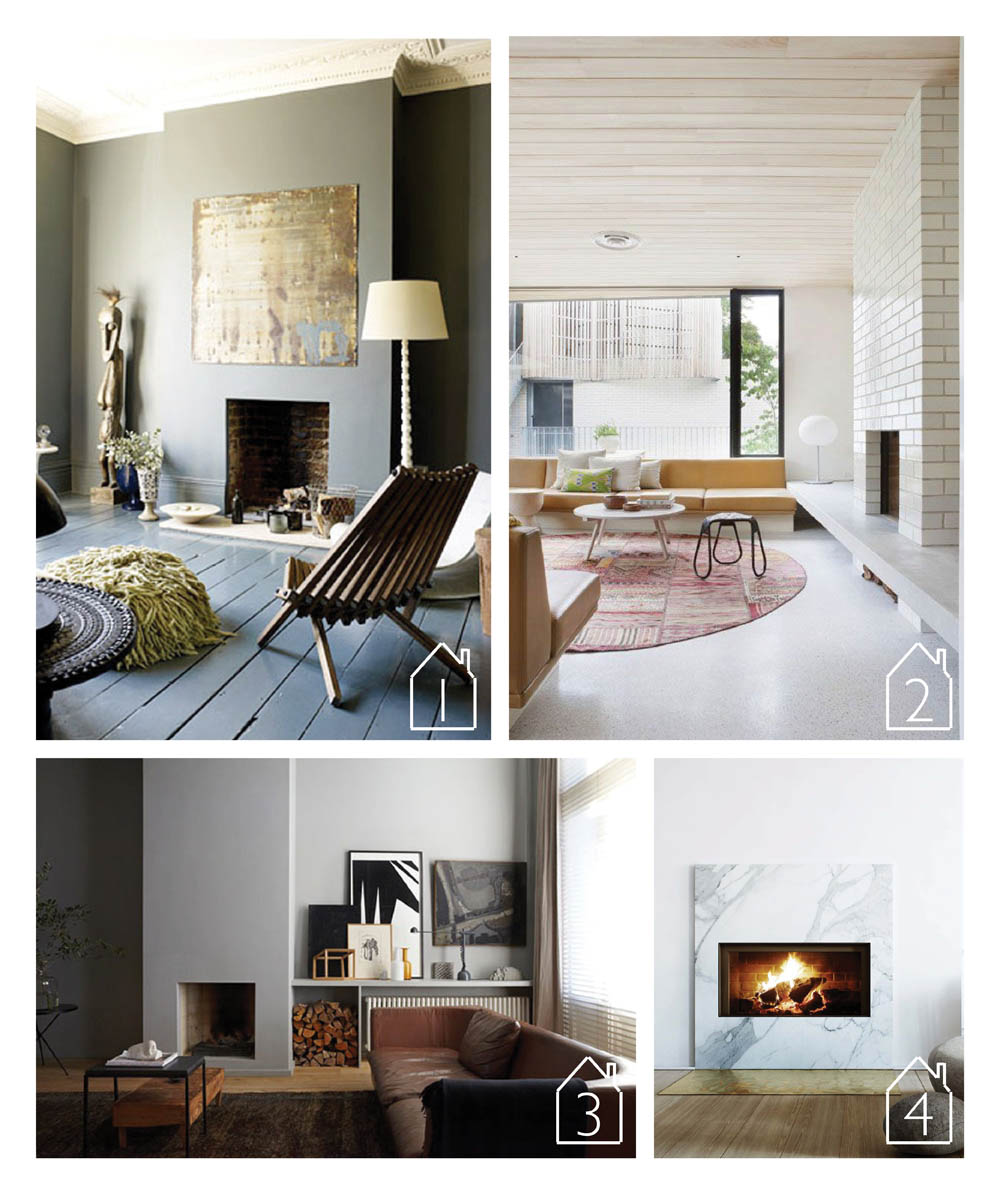 1. East London fireplace of  Abigail Ahern  via  SF Girl by Bay  2. Brick House by  Clare Cousin Architects image by Shannon McGrath 3. Interior design by  Studio Bakker  4. Karlavagen 76 (Oscar Properties) via  Husligheter