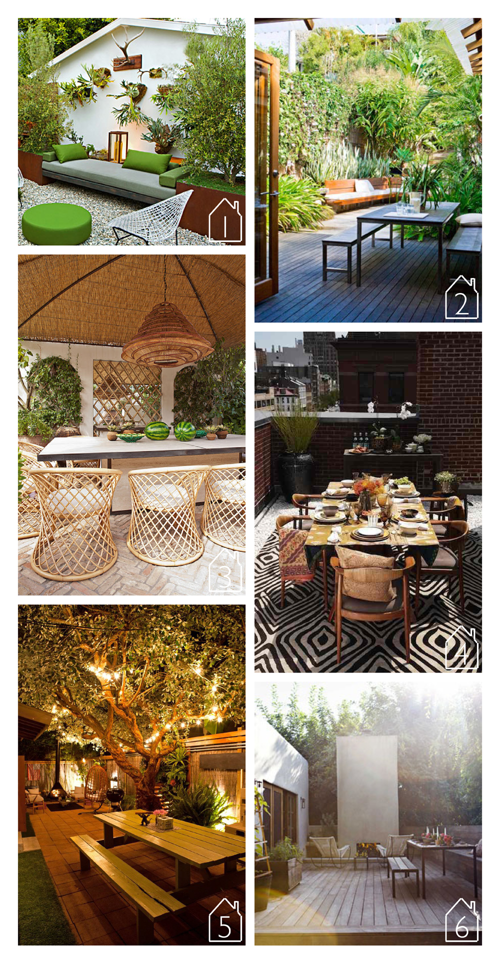 1. Design by  Andre Price Jackson  via  Sunset   2. Design by John Ward Designs via  Australian House and Garden   3. Design by Jean-Louis Deniot via  Habitually Chic   4. Design by  Diane von Furstenberg  with  Remodelista  via  Remodelista   5. Home of Ryan Benoit and Chantal Aida Gordon via  NY Times   6. Design by Pamela Shamshiri of  Commune Design  via  House Beautiful