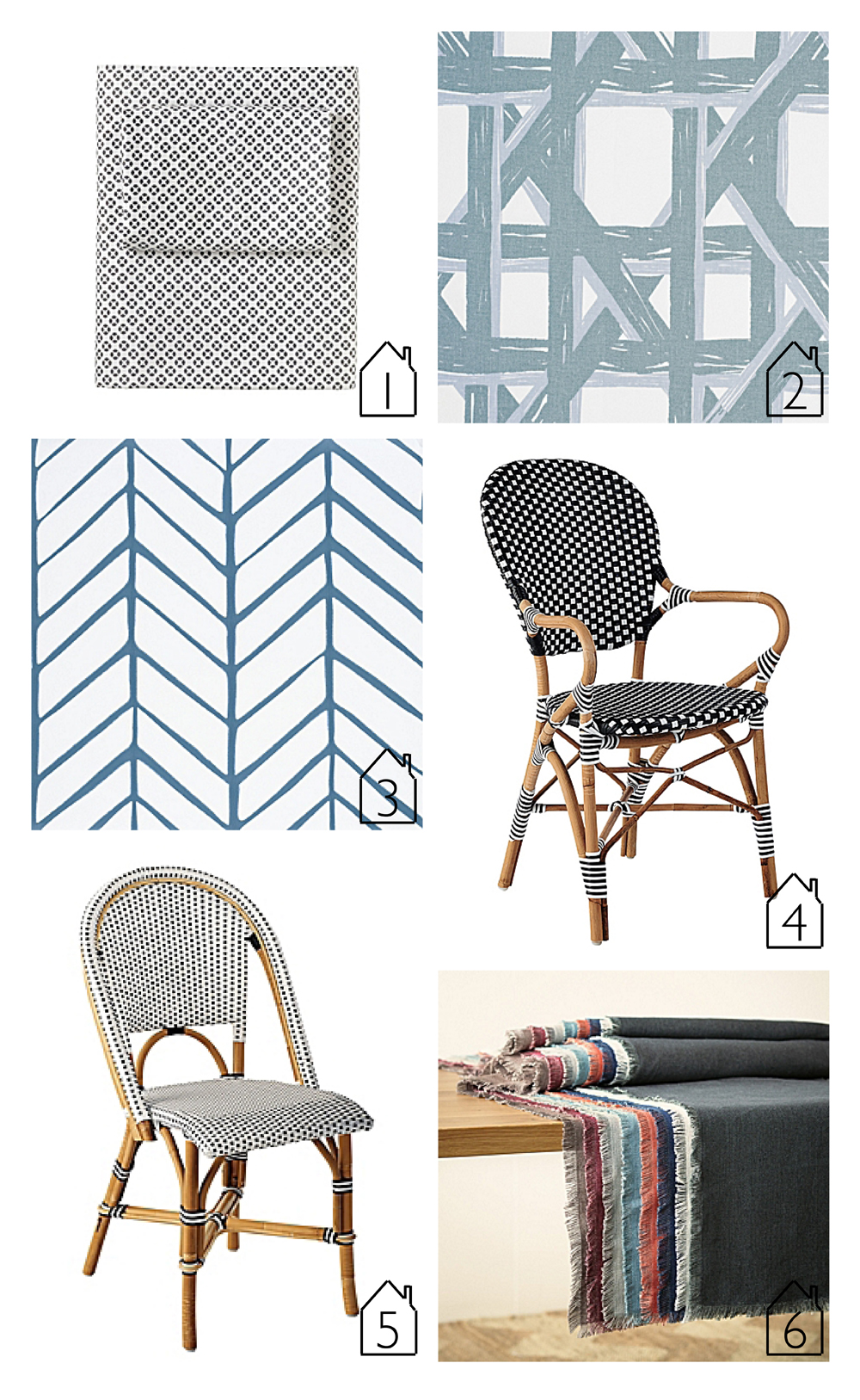 1. Cut Circle Sheet Set - Pewter  2.   Havana Fabric - Celadon  3.  Feather Wallpaper - Denim  4.  Riviera Armchair - Black  5.  Riviera Side Chair - Black  6.  Capri Table Linens