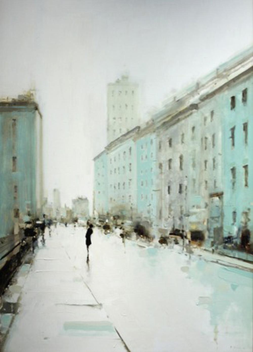 Geoffrey Johnson, City Buildings Green, oil on wood panel, 2013 via  Hubert Gallery