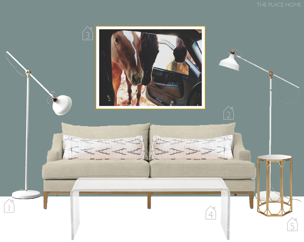 1. ranarp lamps from  ikea  2. montgomery sofa from  west elm 3. art from  kevin russ 4. lucite table from  CB2  5. side table from  overstock