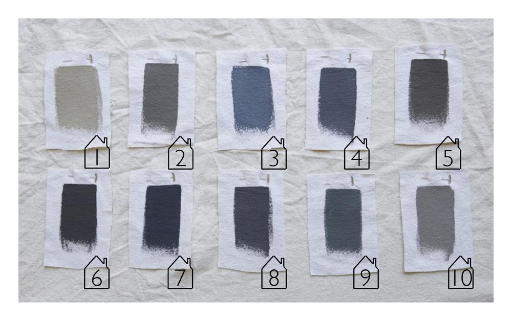 REMODELISTA: Shades of Gray - Architects' Top Ten Paint Picks   1. Benjamin Moore - Sag Harbor Gray 2. ICI - Grey Hearth 3. Dunn-Edwards - Vulcan 4. Benjamin Moore - Graphite 5. Benjamin Moore - Bear Creek 6. Benjamin Moore - Iron Mountain 7. Benjamin Moore - Gravel Grey 8. Sherwin Williams - Peppercorn 9. Farrow & Ball - Down Pipe 10. Benjamin Moore - Greystone
