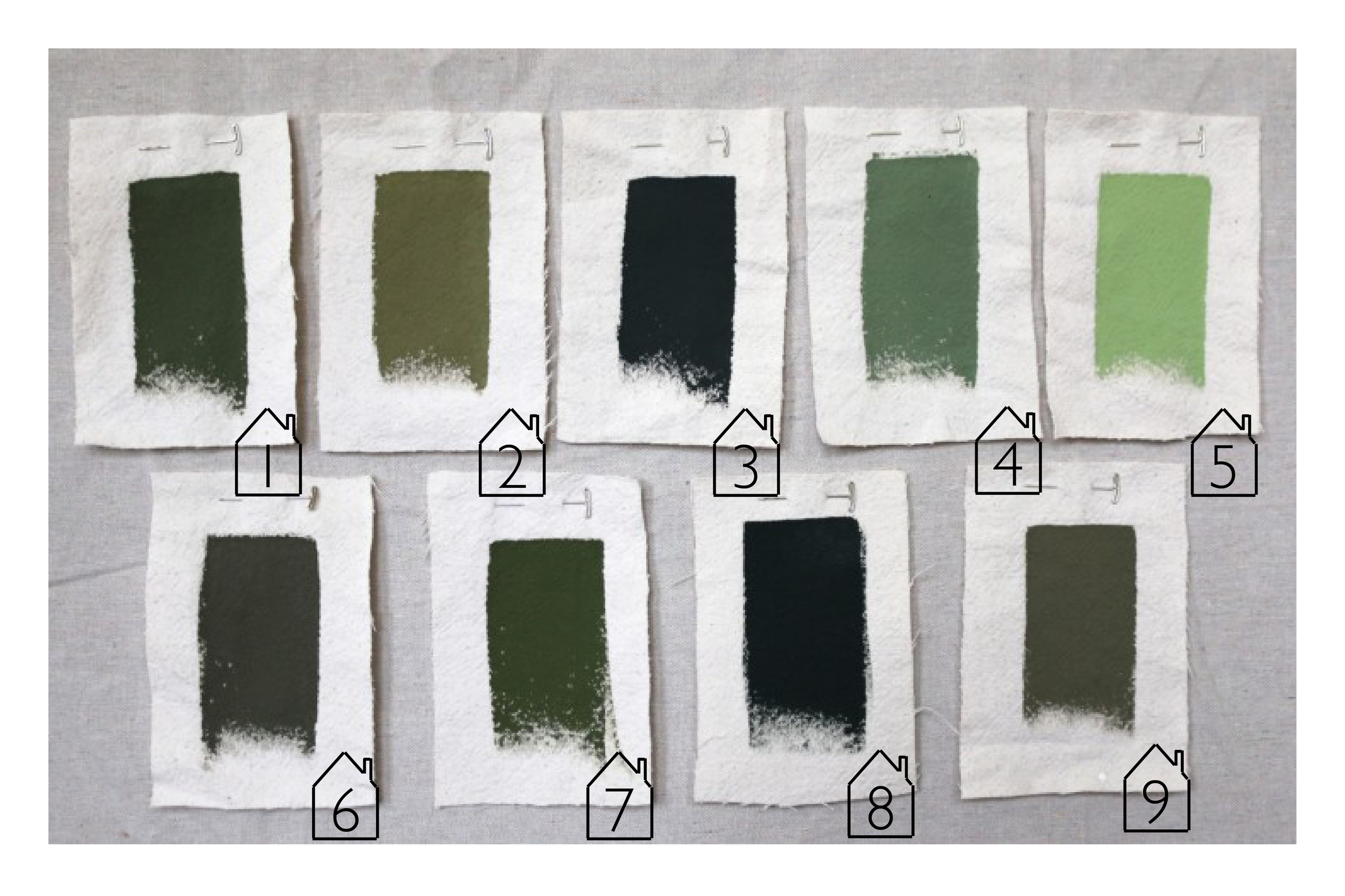 REMODELISTA: Seeing Green - Architects Pick the Best Green Exterior Paints   1. Pratt & Lambert - Olive Shadow  2. Cabot Solid Stain - Sagebrush  3. Farrow & Ball - Studio Green  4. Benjamin Moore - Cedar Path  5. Benjamin Moore - Central Park  6. Benjamin Moore - Mohegan Sage  7. Sherwin-Williams - Yew Hedge  8. Benjamin Moore - Black Forest Green  9. C2 Paints - Toadstool